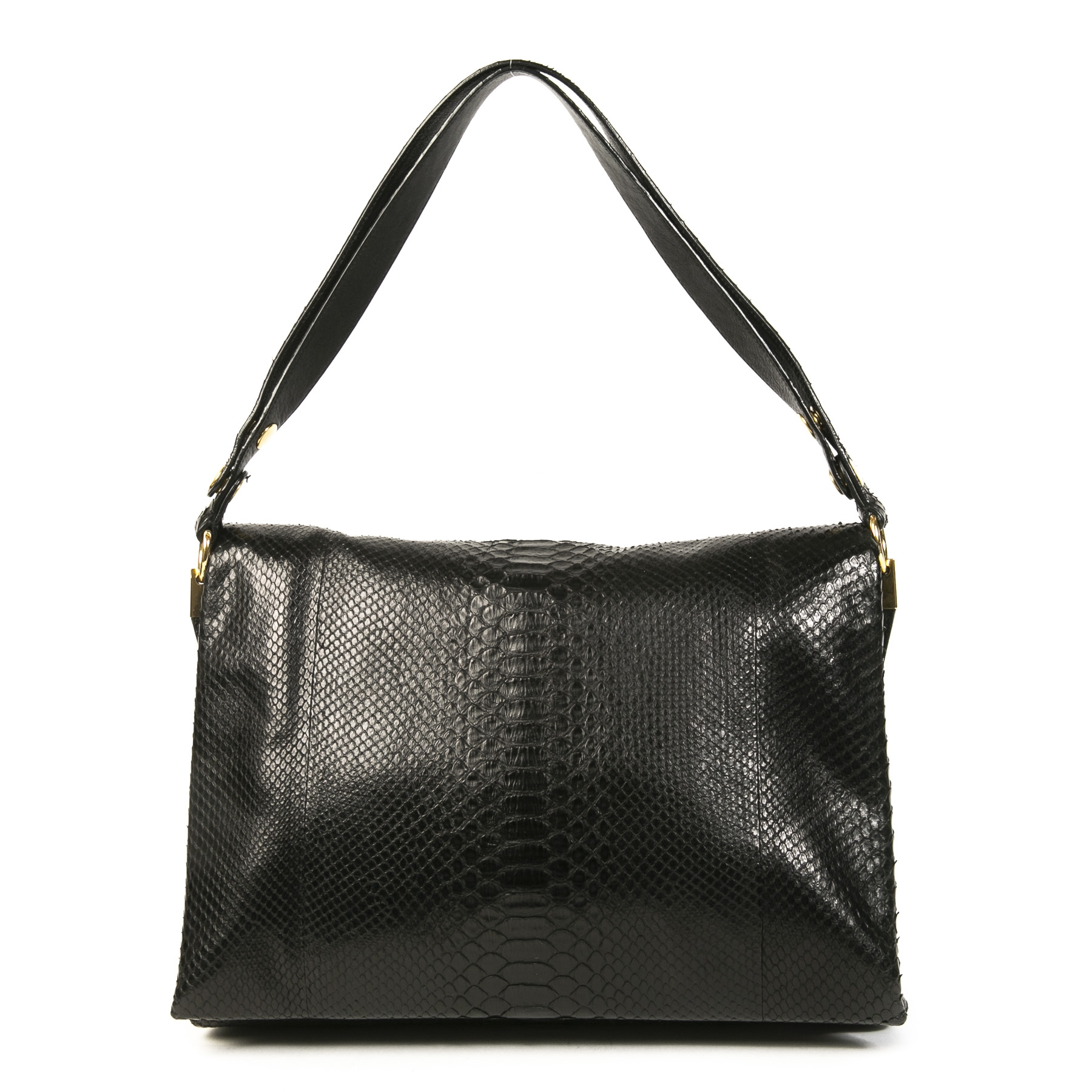 Authentic second-hand vintage Celine Python Black Blade Bag buy online webshop LabelLOV
