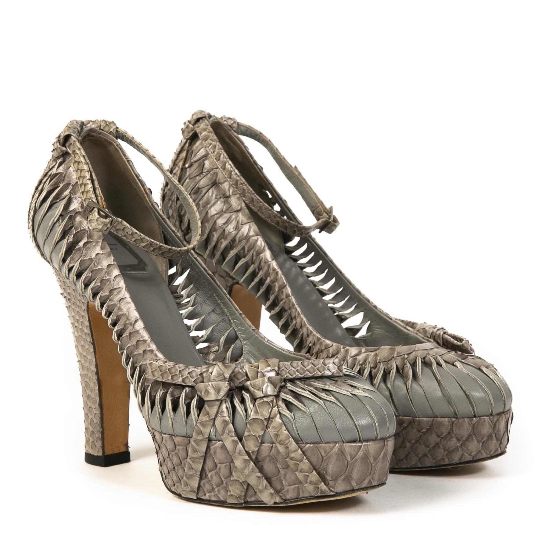 Authentieke Tweedehands Christian Dior Grey Croco Platform High Heels juiste prijs veilig online shoppen luxe merken webshop winkelen Antwerpen België mode fashion