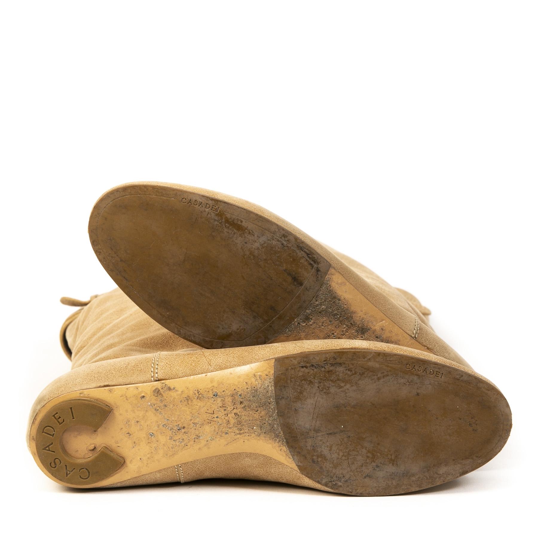 Authentieke tweedehands vintage Casadei Beige Boots koop online webshop LabelLOV