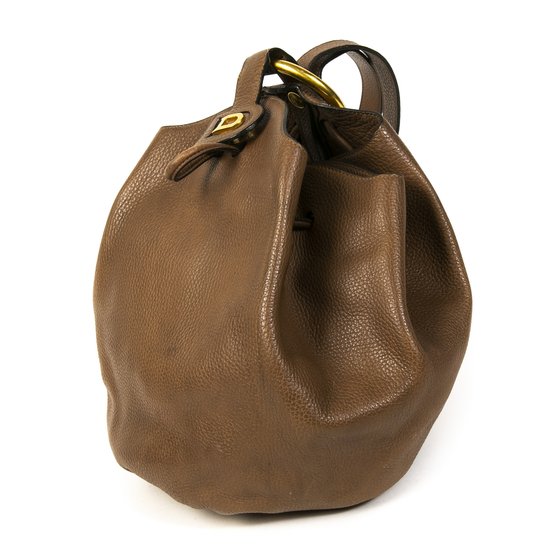 Delvaux Brown Leather Rose des Vents Bucket Bag