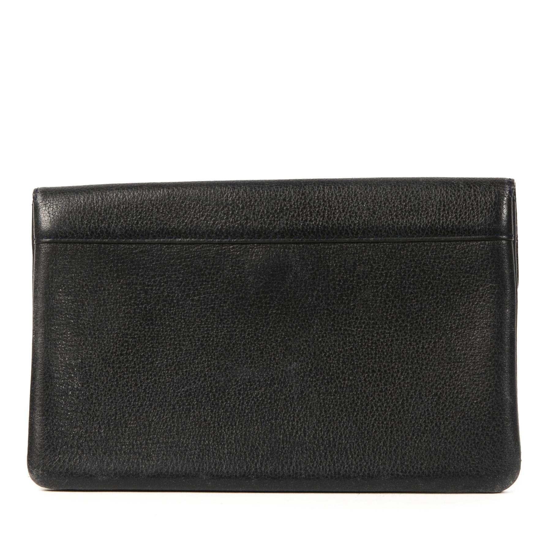 Authentieke tweedehands vintage Delvaux Blue D Wallet koop online webshop LabelLOV