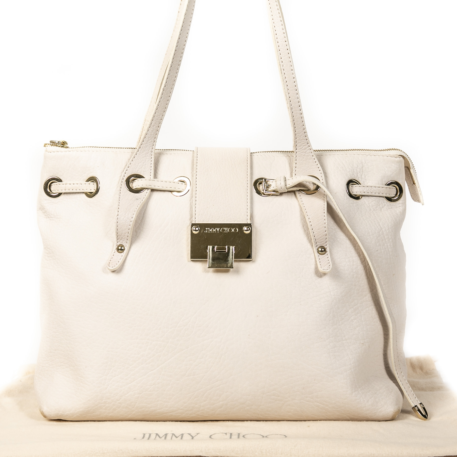Jimmy Choo White Leather Shoulder Tote kopen en verkopen