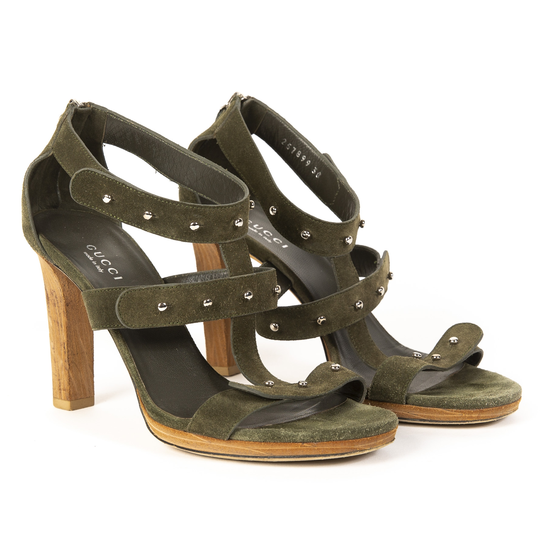Gucci Military Green Sandals - Size 38