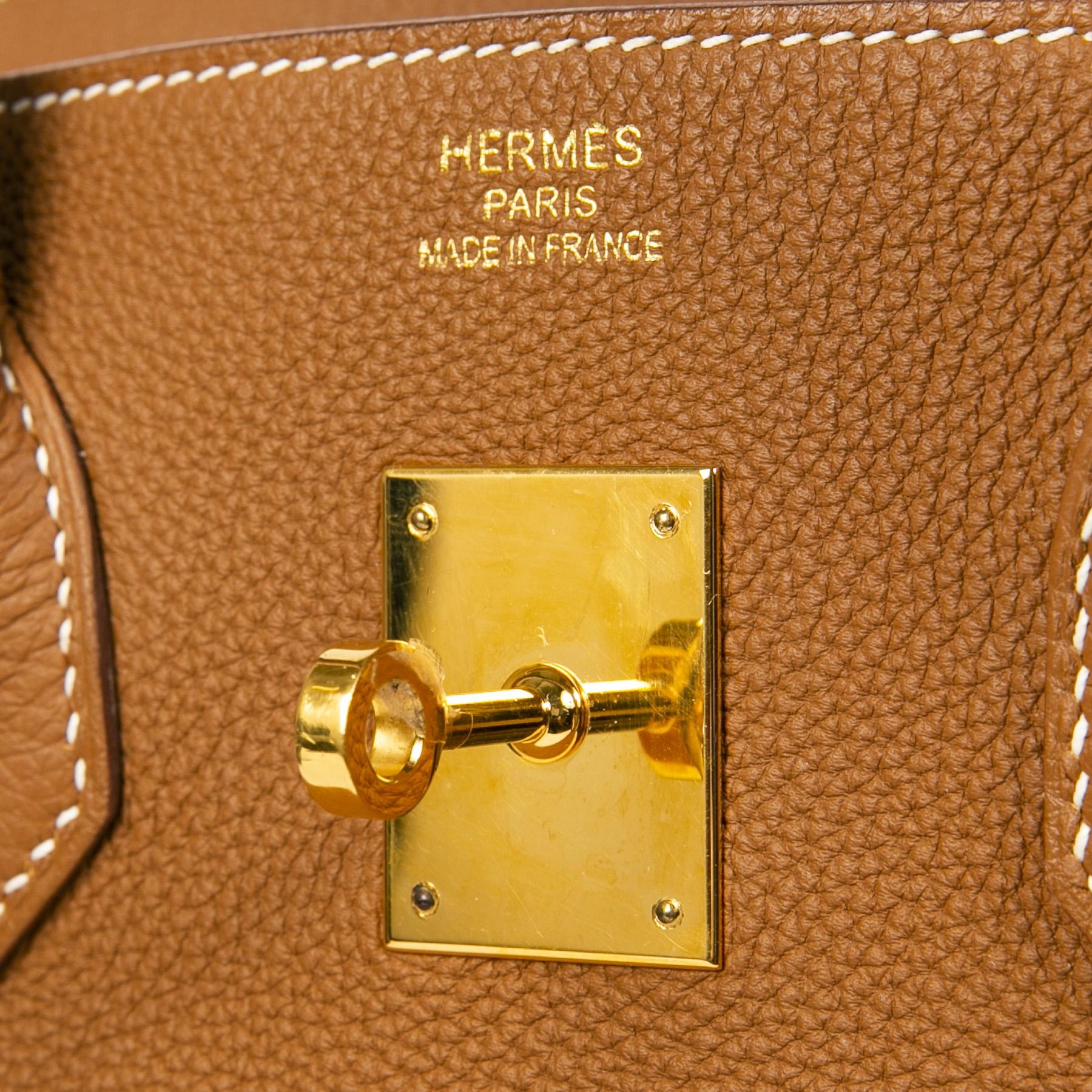 Hermès Birkin 35 Verso Gold / Geranium Togo GHW