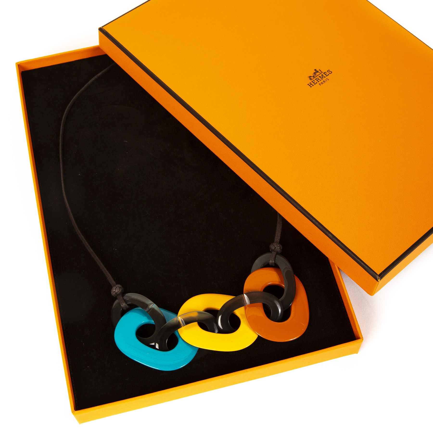 Hermès Buffalo Necklace Blue Yellow Brown Orange