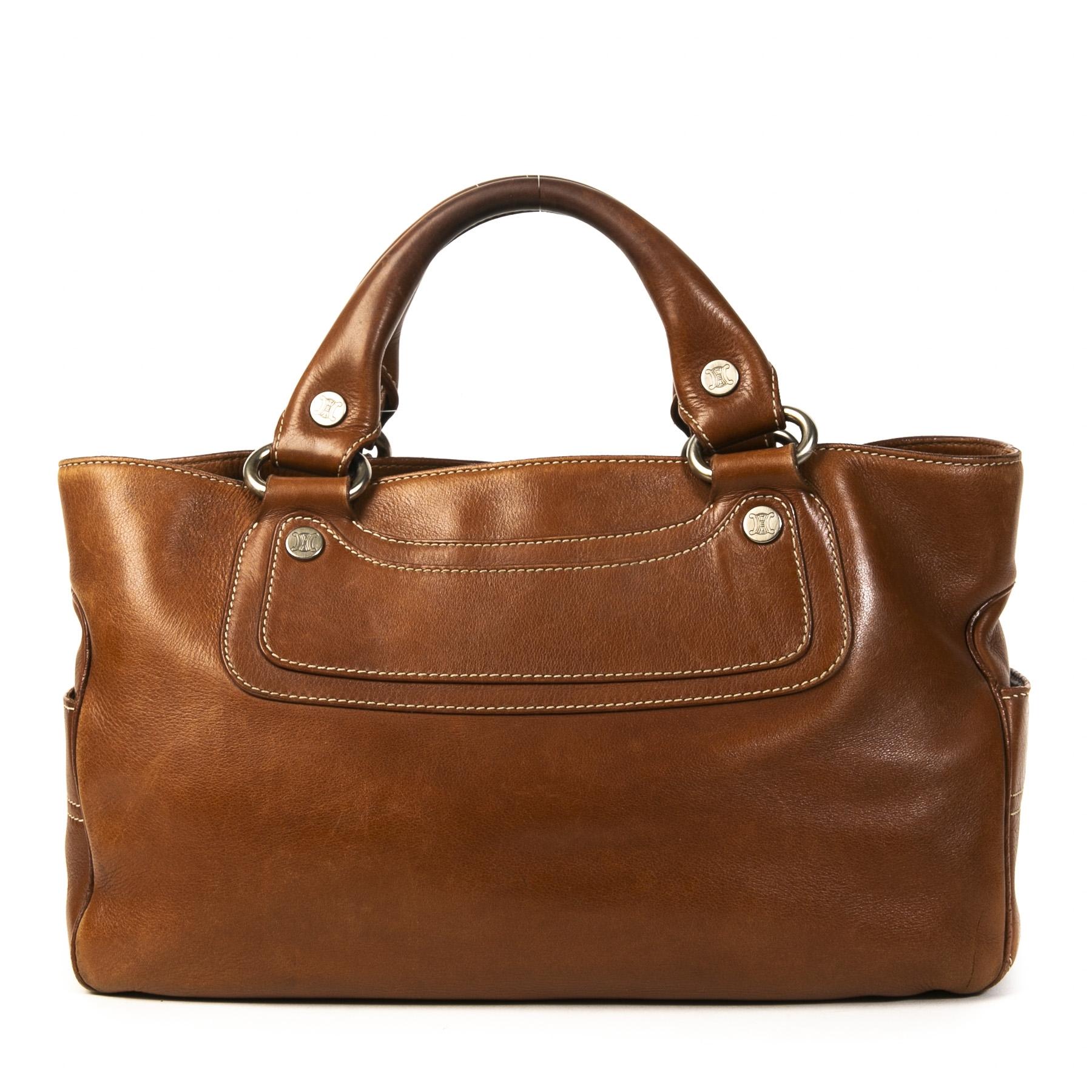 Authentieke Tweedehands Céline Cognac Leather Top Handle Bag juiste prijs veilig online shoppen luxe merken webshop winkelen Antwerpen België mode fashion