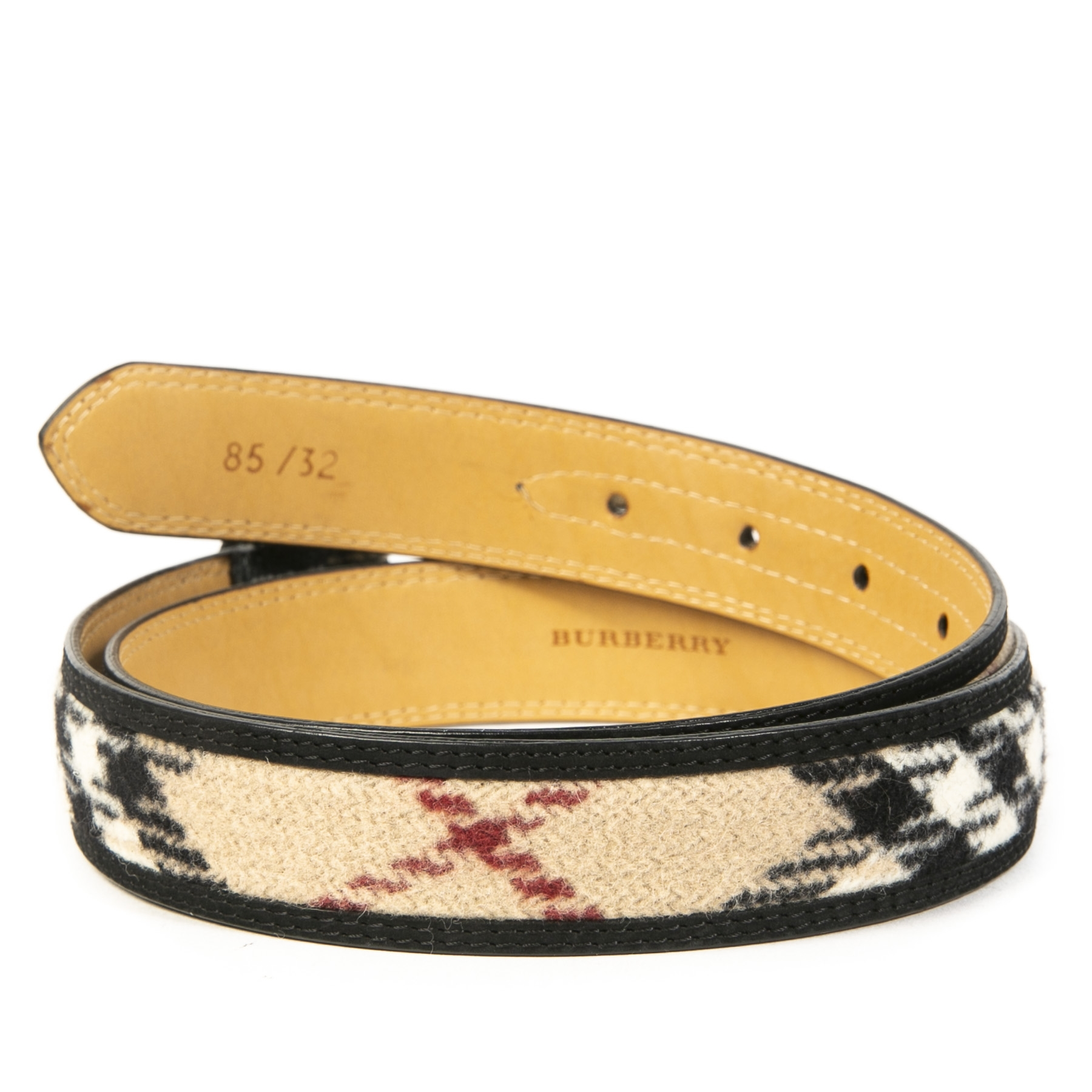 Burberry Wool Check Belt - size 85
