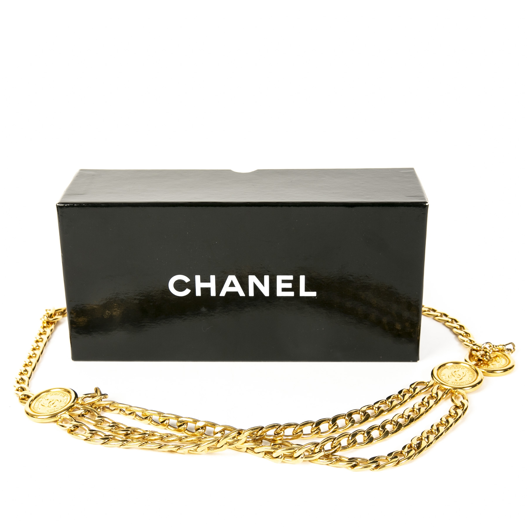 Authentieke tweedehands vintage Chanel Gold Triple Chain Belt koop online webshop LabelLOV