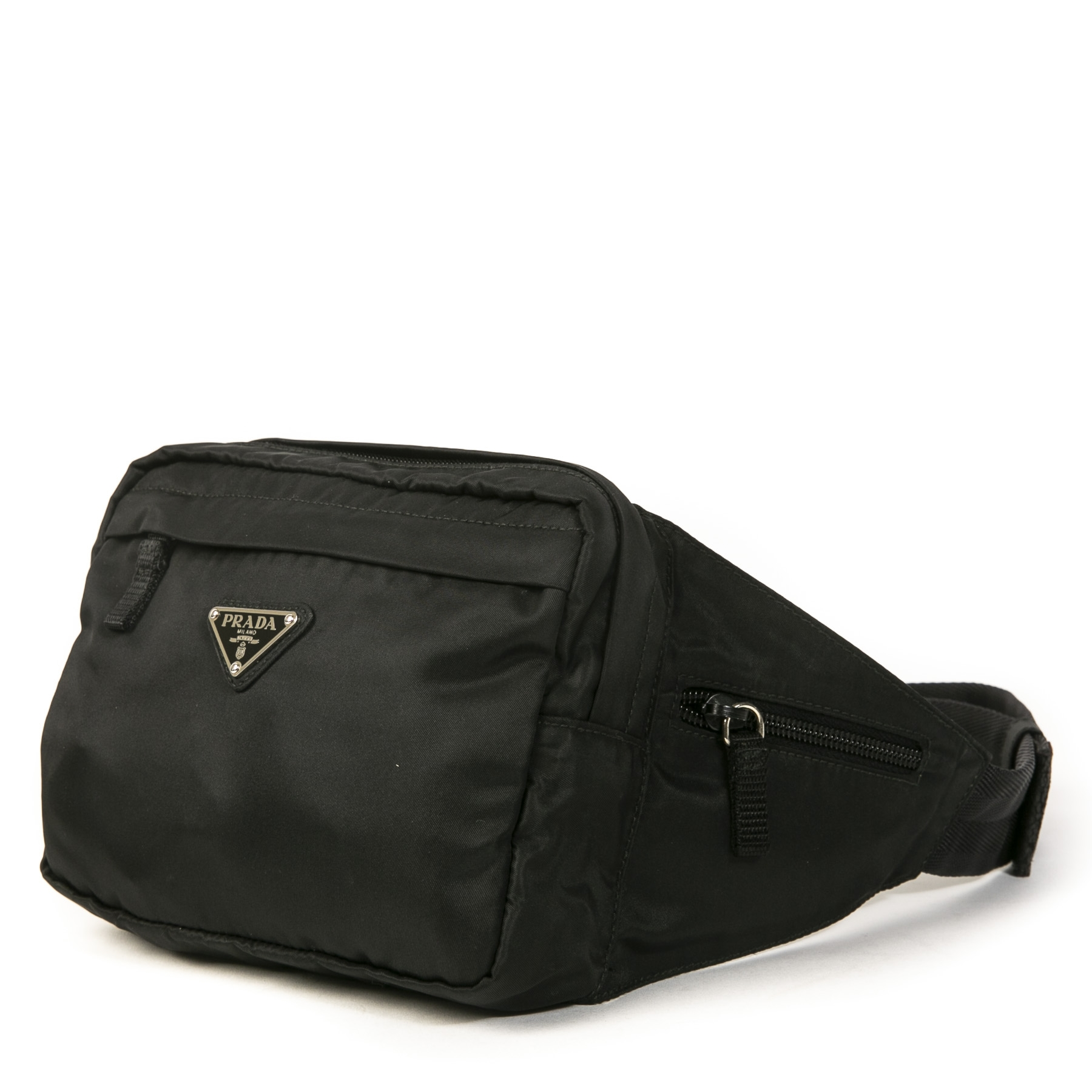 Authentique seconde main vintage Prada Black Nylon Belt Bag achète en ligne webshop LabelLOV