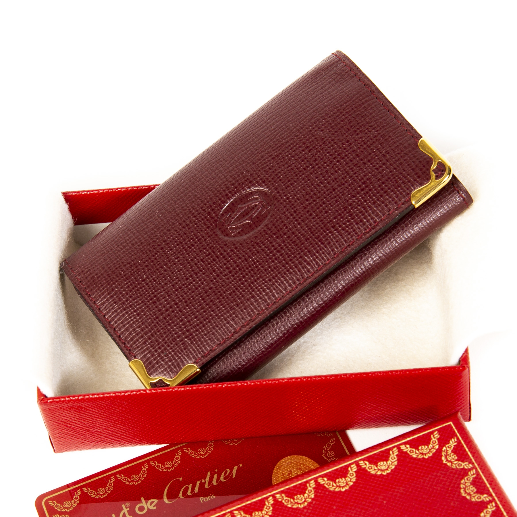 Cartier Burgundy Leather Key Holder