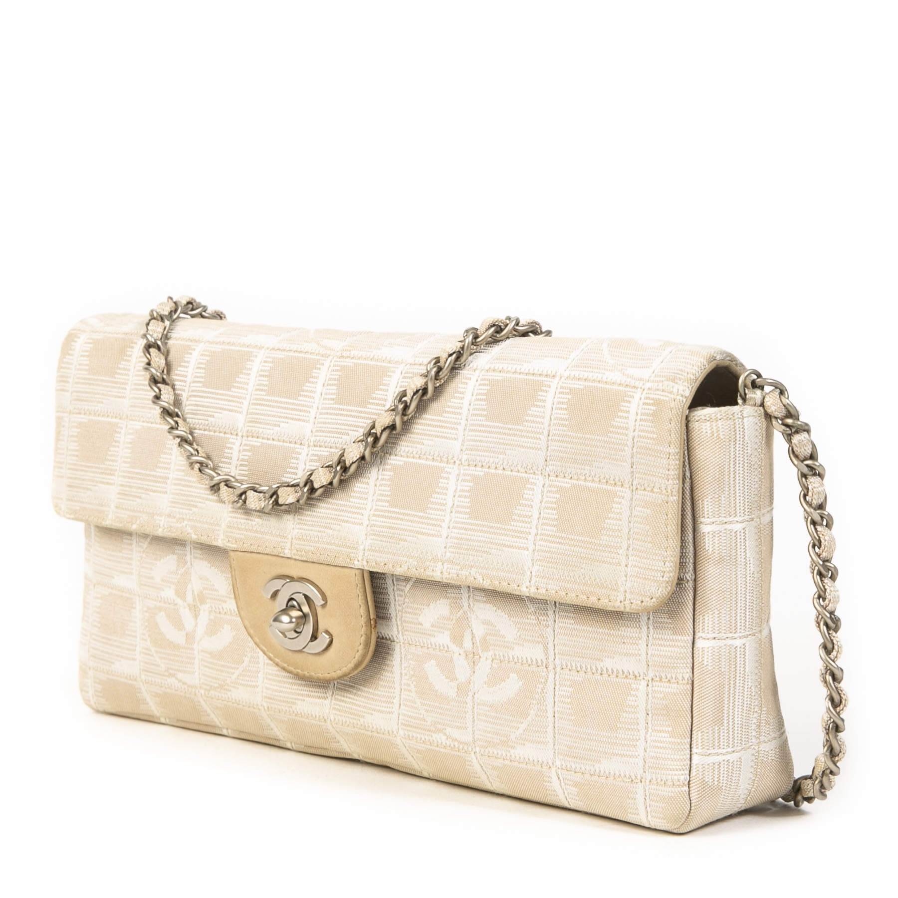 Authentieke tweedehands vintage Chanel East West Chocolate Bar Bag koop online webshop LabelLOV