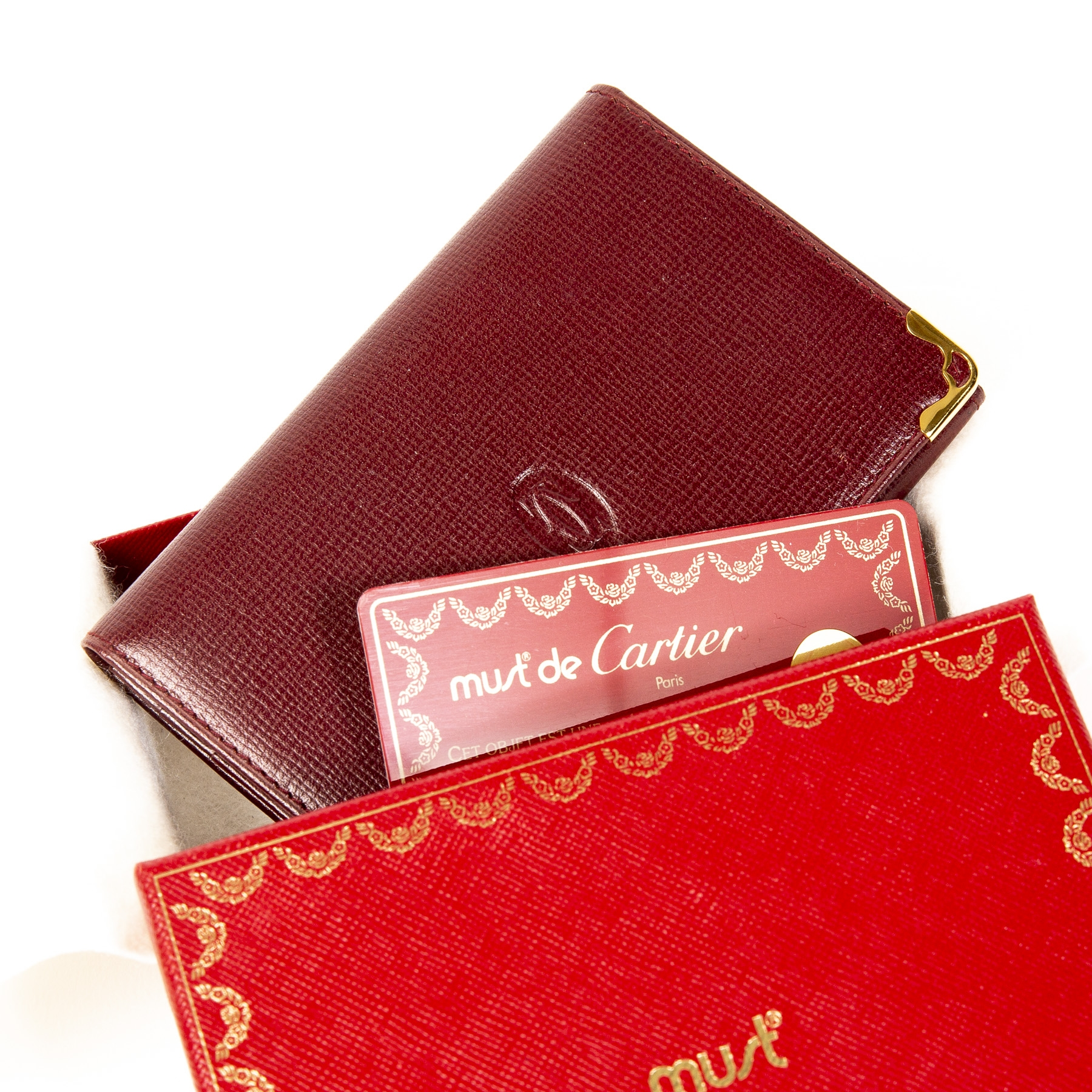 Cartier Burgundy Leather Small Card Holder