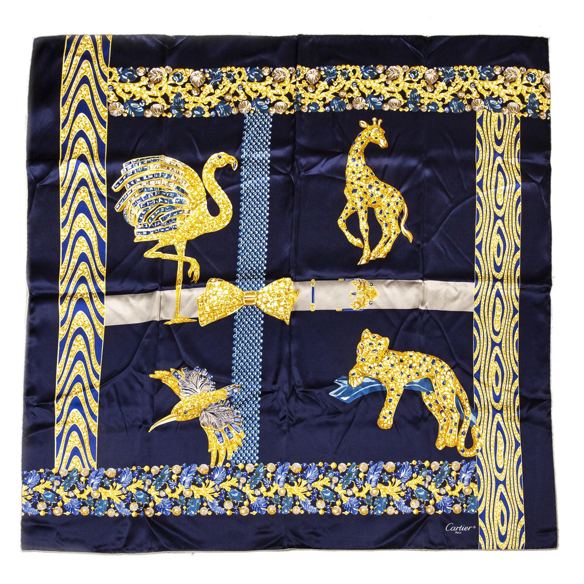 Cartier Dark Blue Silk Scarf Animal Print