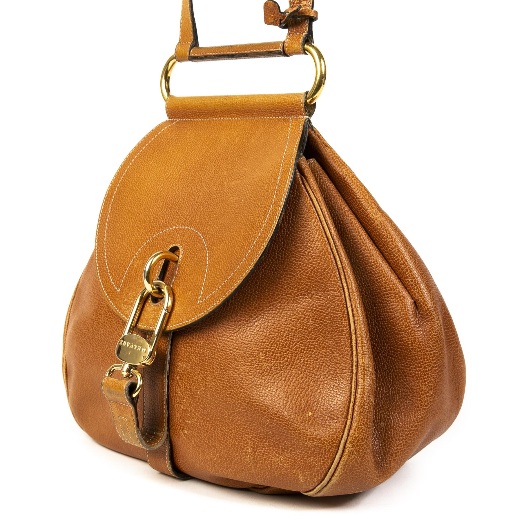 Authentic second-hand vintage Delvaux Camel Cerceau Crossbody Bag buy online webshop LabelLOV