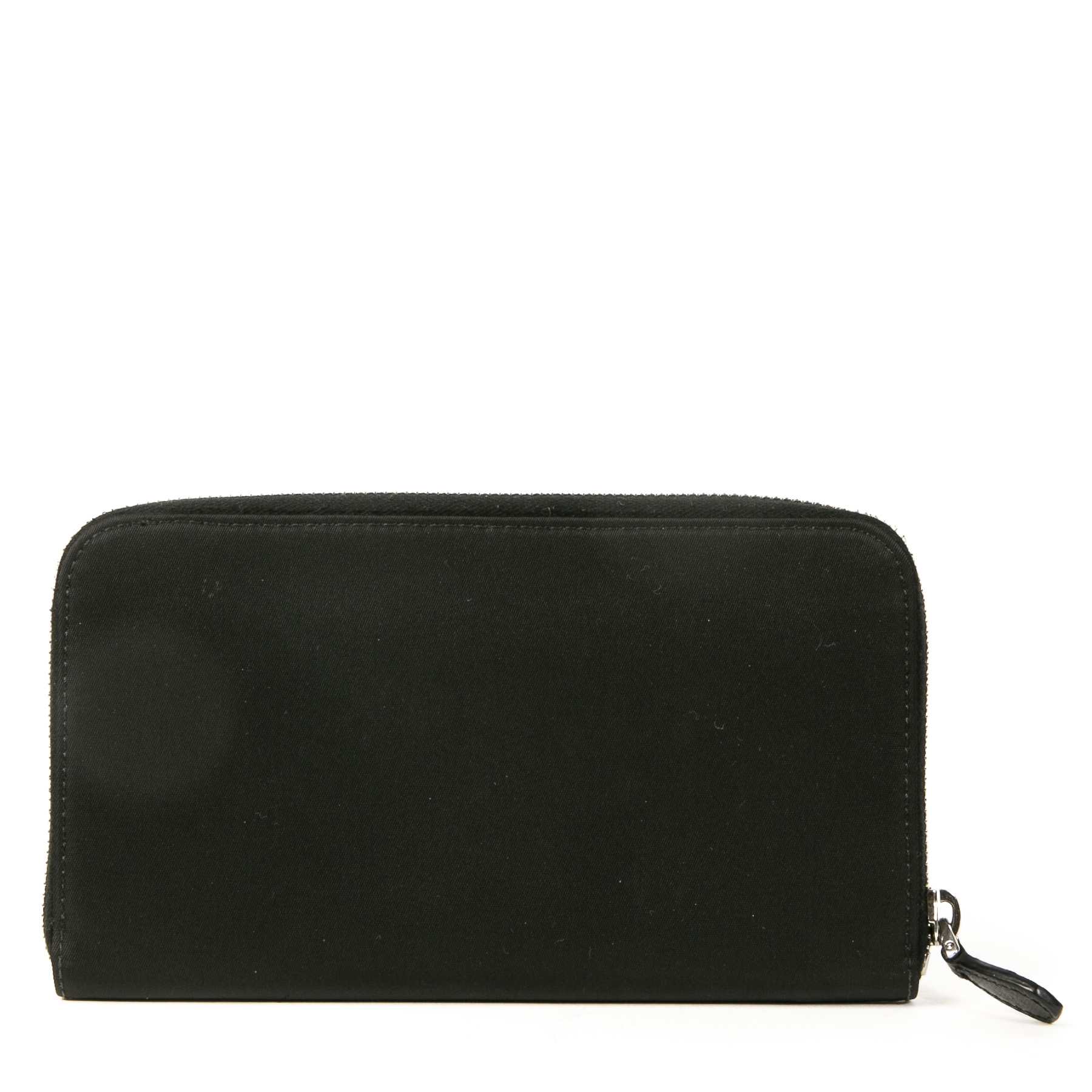 Authentieke tweedehands vintage Prada Tessuto Nylon Zip Around Wallet koop online webshop LabelLOV