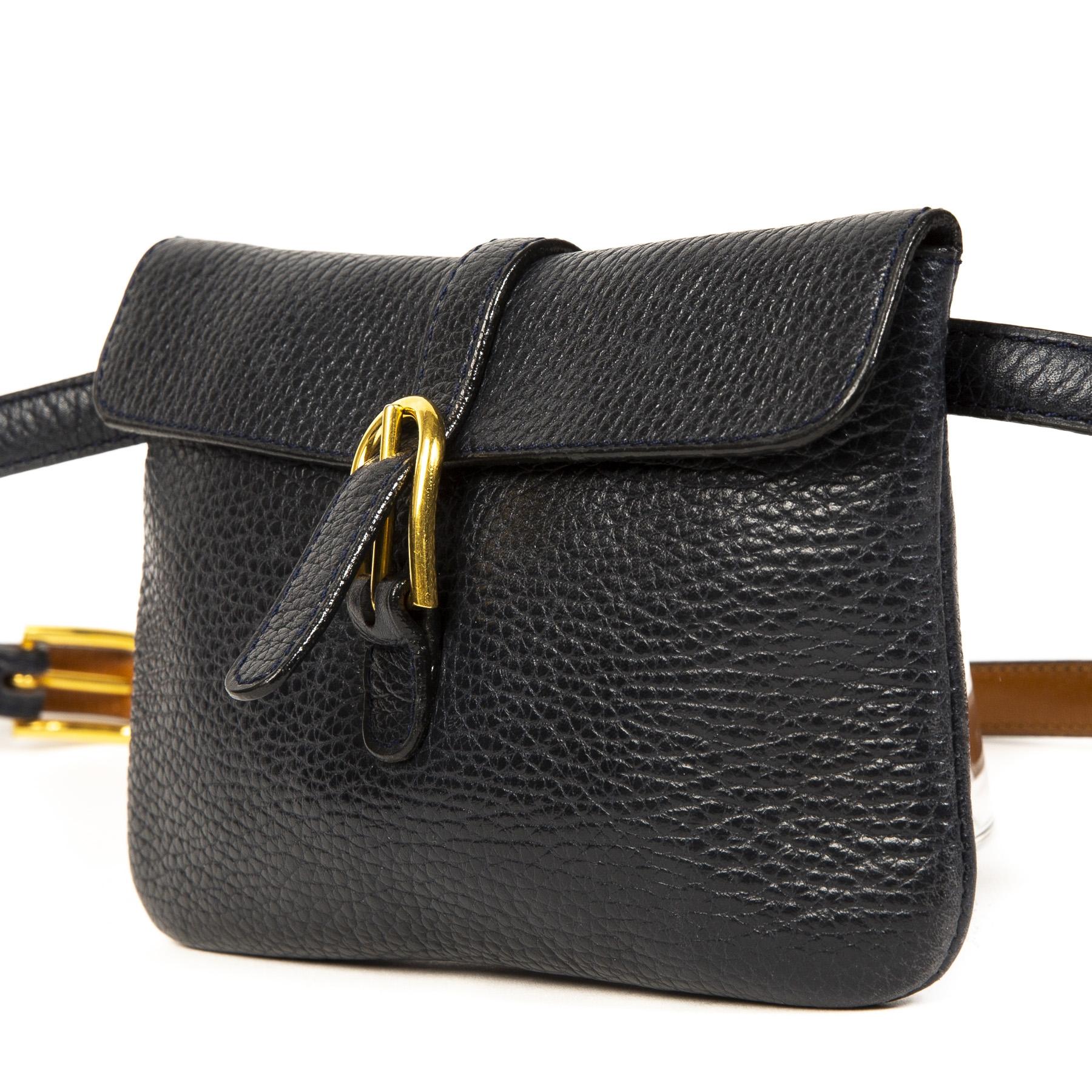 Authentieke Tweedehands Delvaux Blue Belt Bag juiste prijs veilig online shoppen luxe merken webshop winkelen Antwerpen België mode
