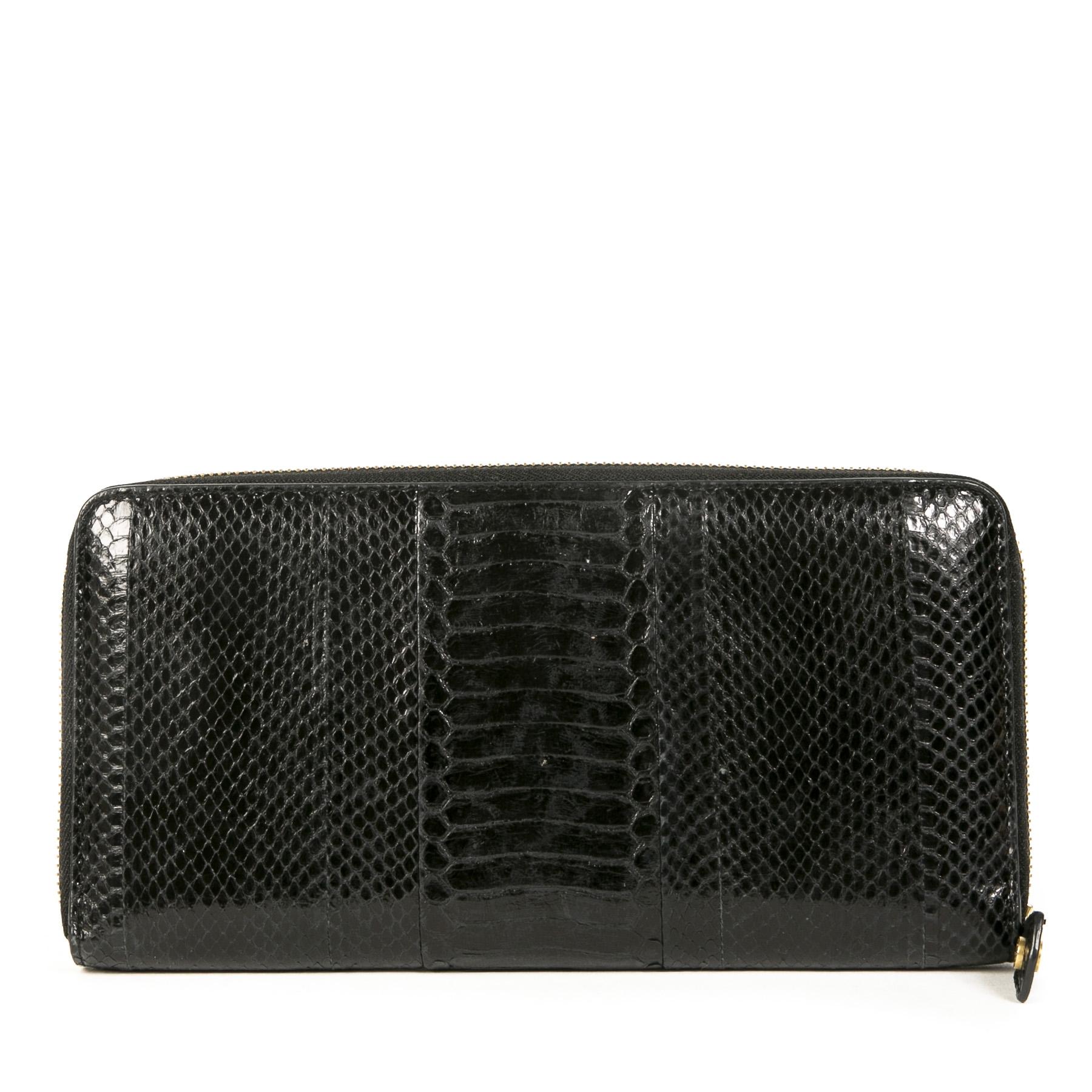 Authentieke Tweedehands Jimmy Choo Black Python Embossed Leather Clutch juiste prijs veilig online shoppen luxe merken webshop winkelen Antwerpen België mode fashion