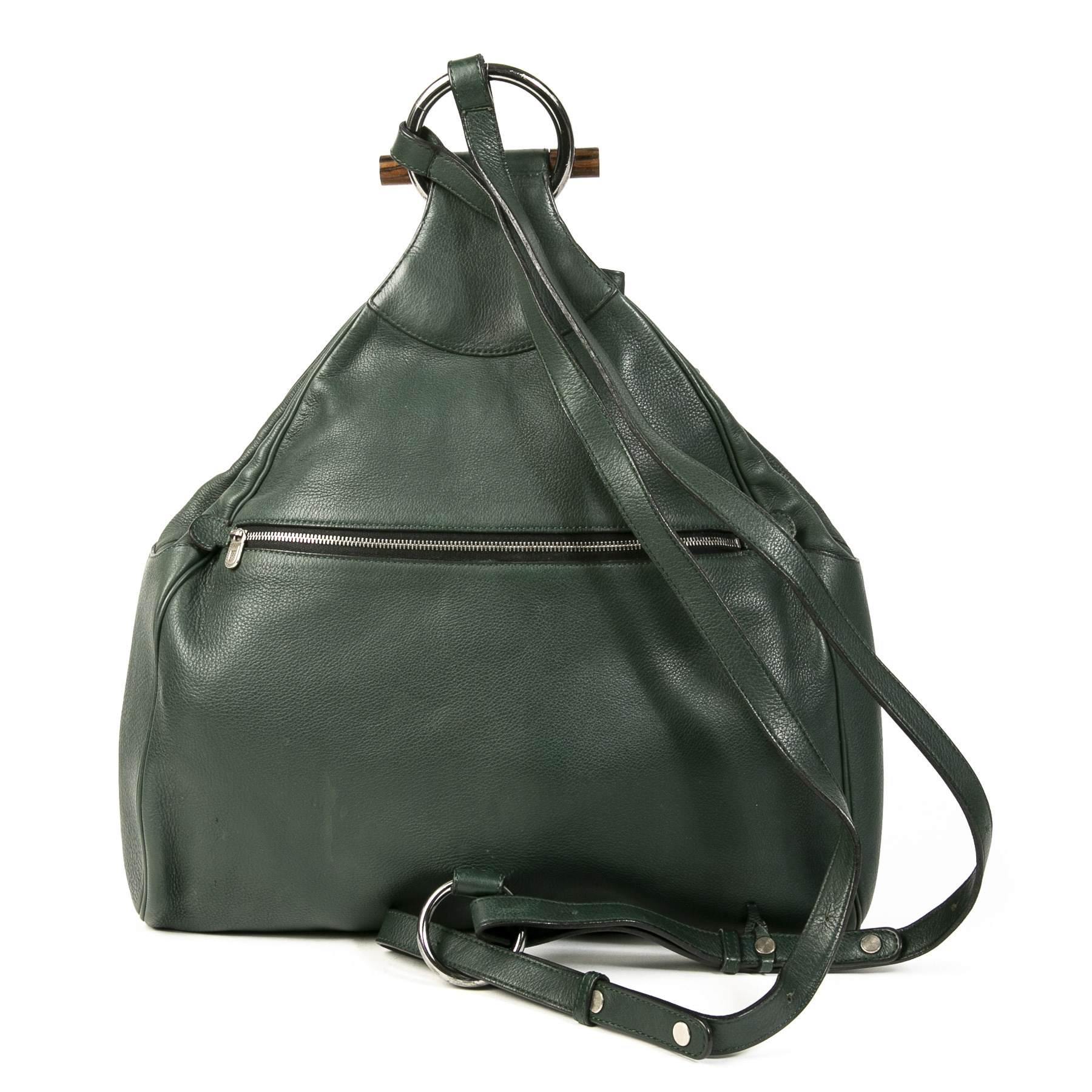 Authentic second-hand vintage Delvaux Green Almond Backpack buy online webshop LabelLOV