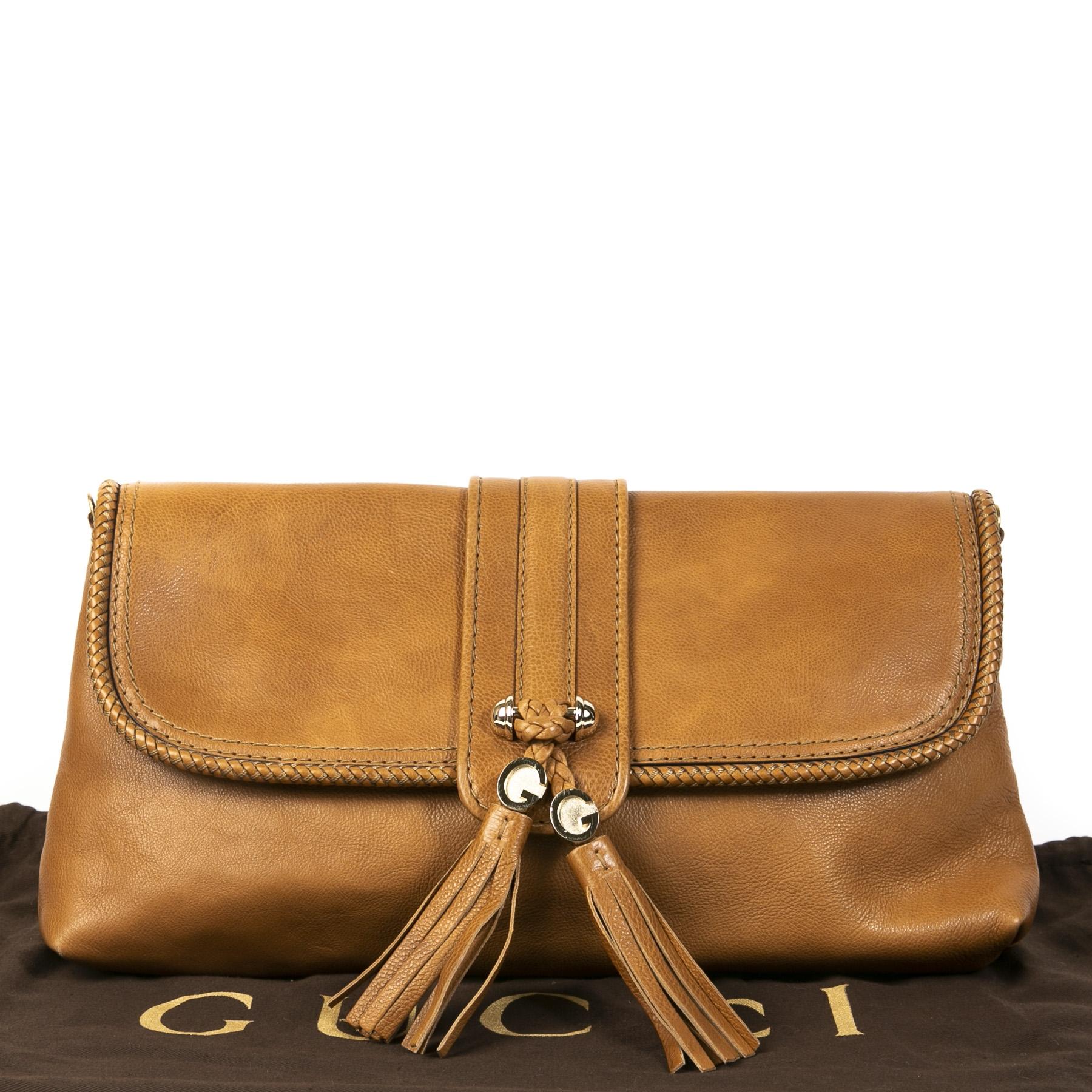 Authentieke tweedehands vintage Gucci Camel Marrakech Clutch koop online webshop LabelLOV