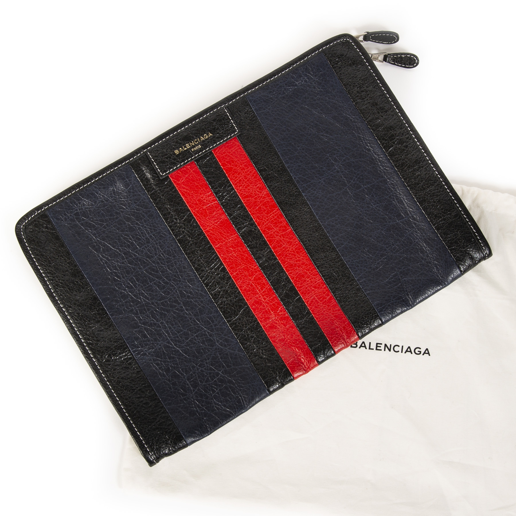 Balenciaga Striped Leather Portfolio Clutch
