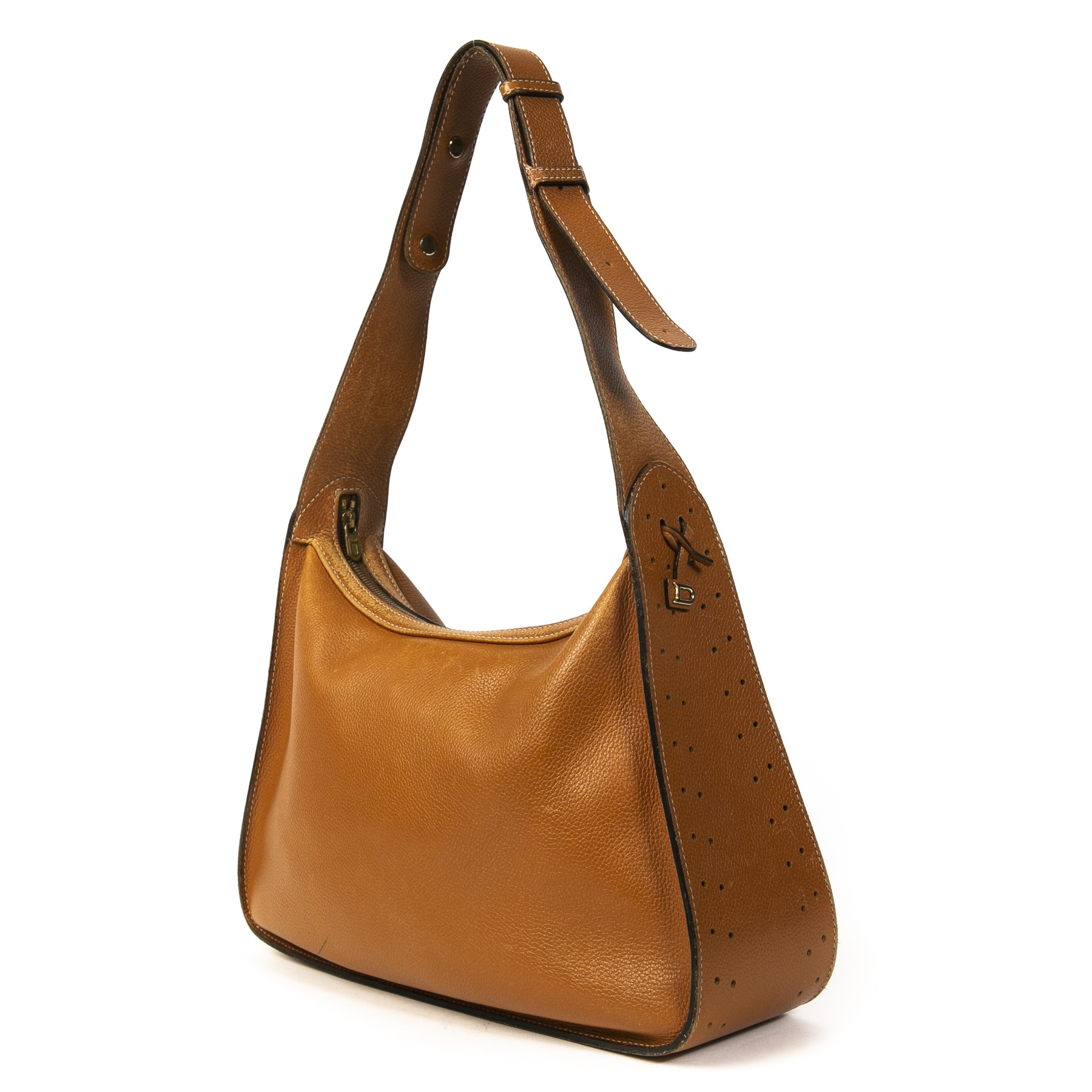 Authentic second-hand vintage Delvaux Camel Pensée Shoulder Bag buy online webshop LabelLOV