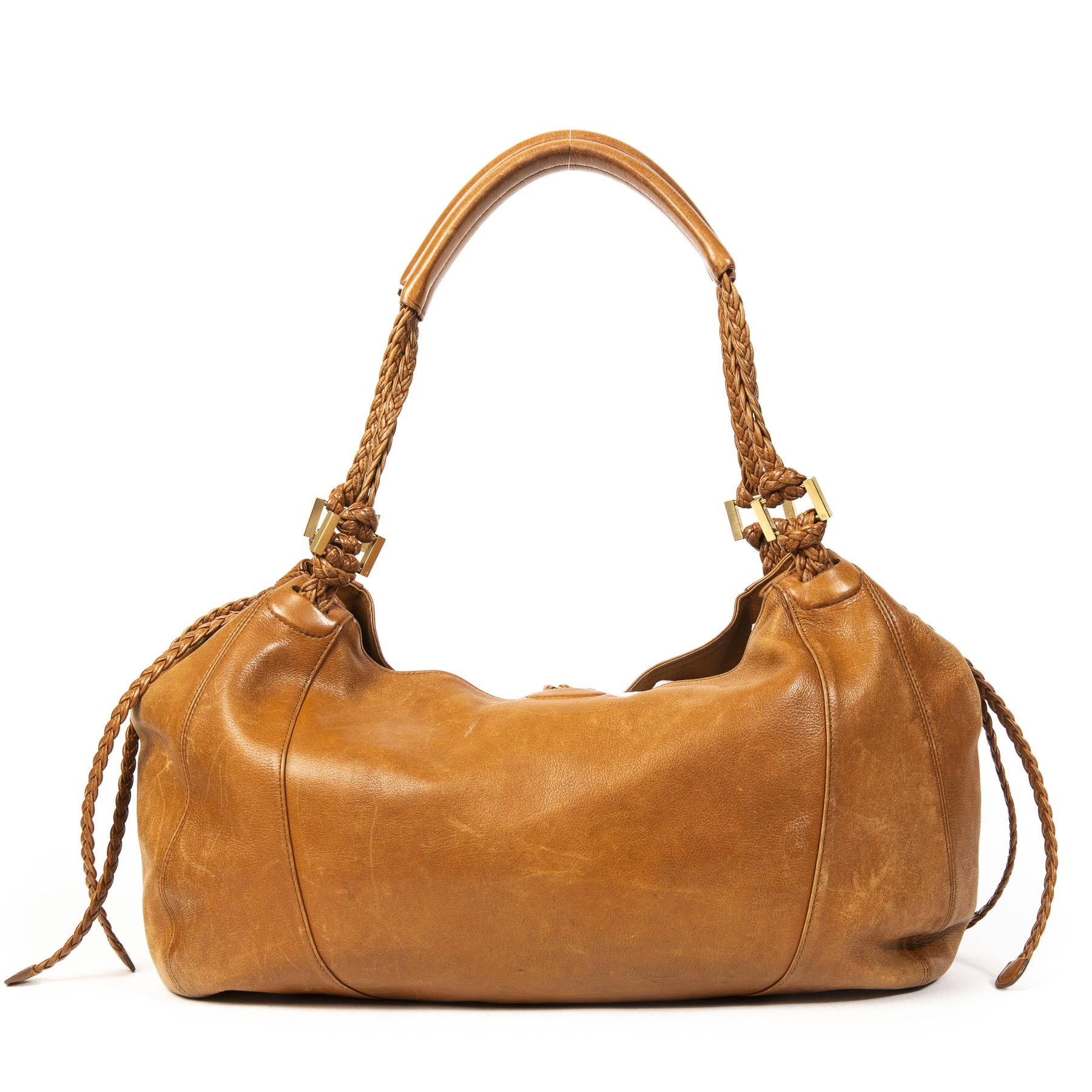 Authentieke tweedehands Delvaux Cognac Collette Leather GM Bag juiste prijs veilig online winkelen LabelLOV webshop luxe merken winkelen Antwerpen België mode fashion