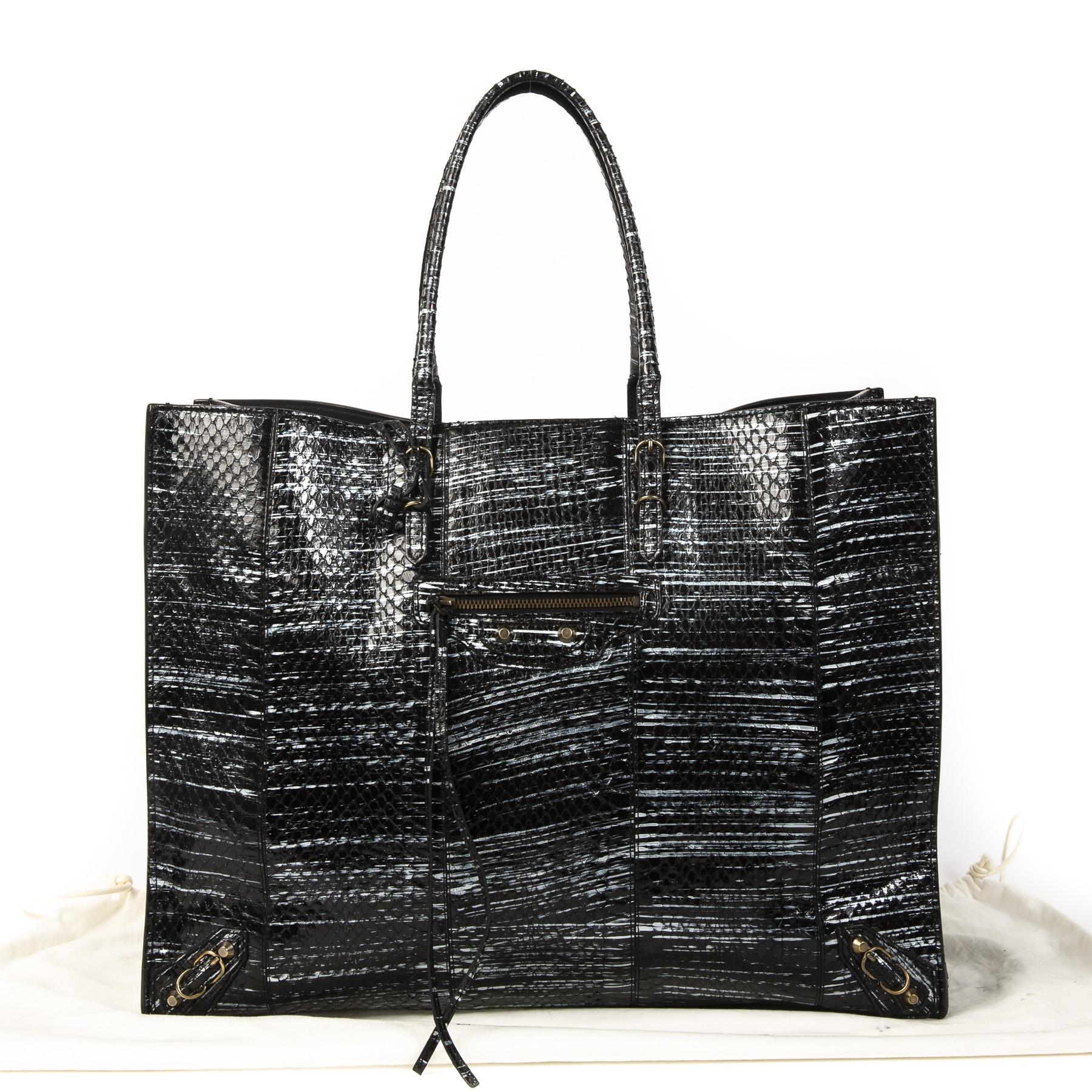 Balenciaga Black Papier A4 Python