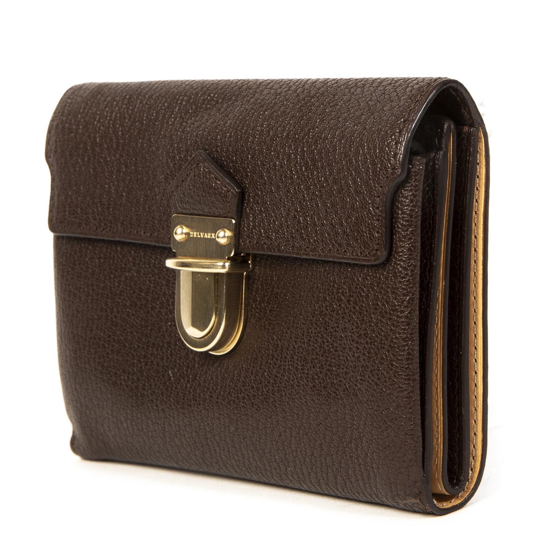 Authentieke Tweedehands Delvaux Brown Leather Wallet juiste prijs veilig online shoppen luxe merken webshop mode fashion winkelen Antwerpen België