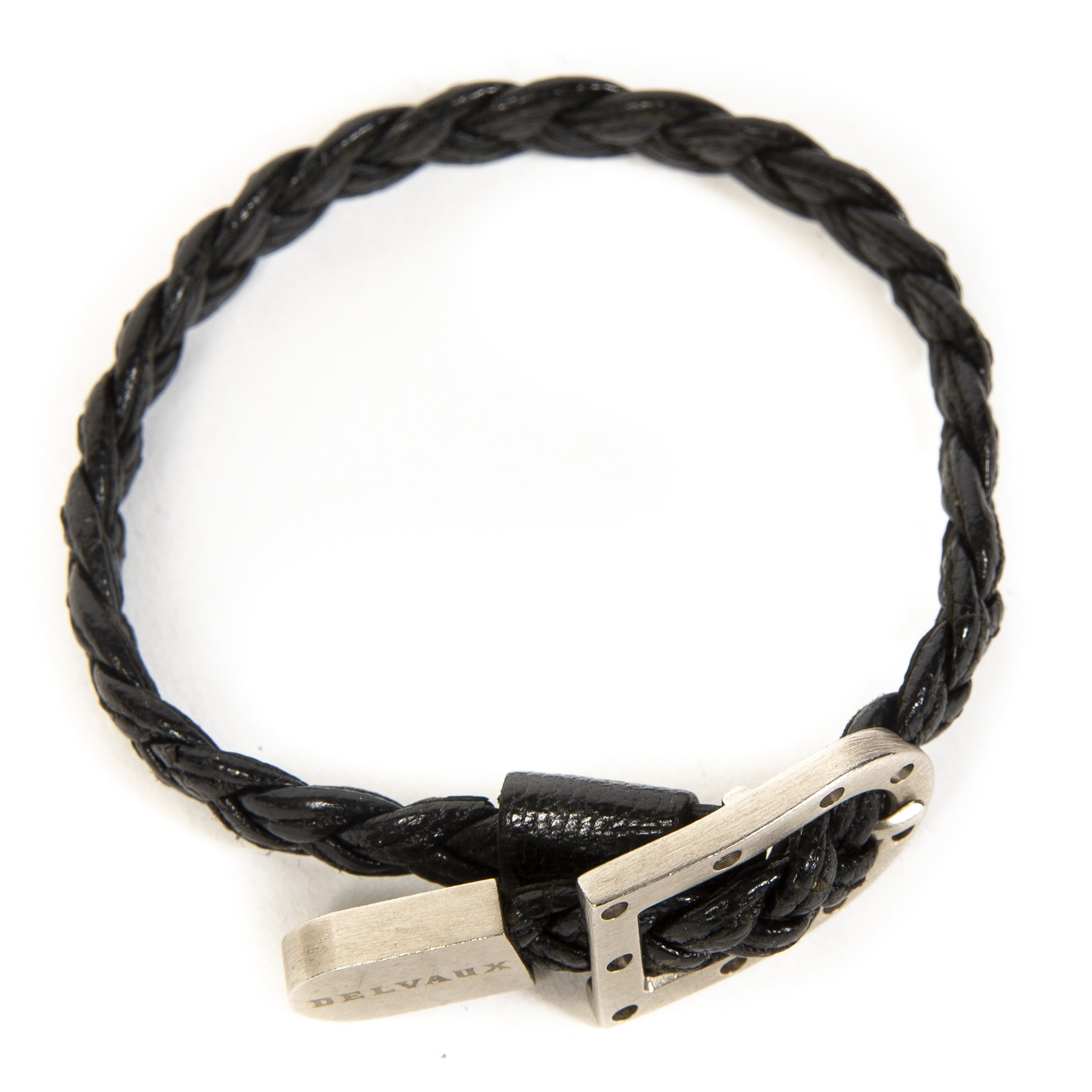 Authentieke tweedehands Delvaux black woven leather bracelet silver D juiste prijs veilig winkelen LabelLOV webshop luxe merken winkelen Antwerpen België mode fashion