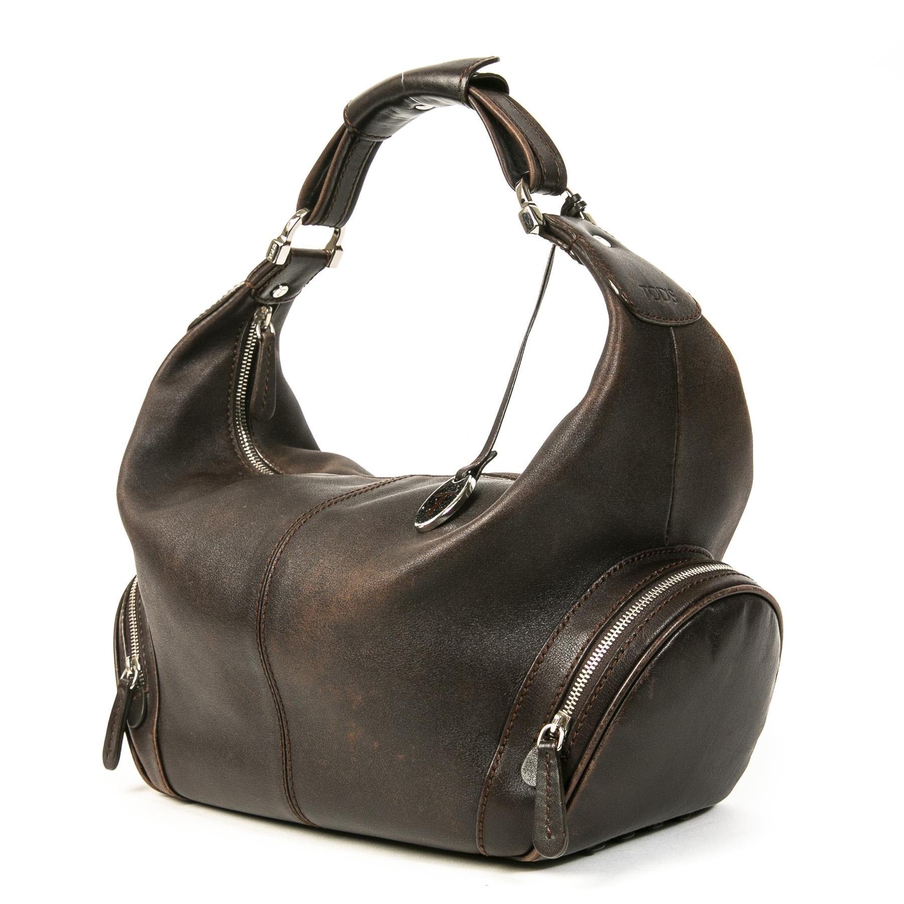 Authentieke tweedehands vintage Tods Brown Hobo Bag koop online webshop LabelLOV