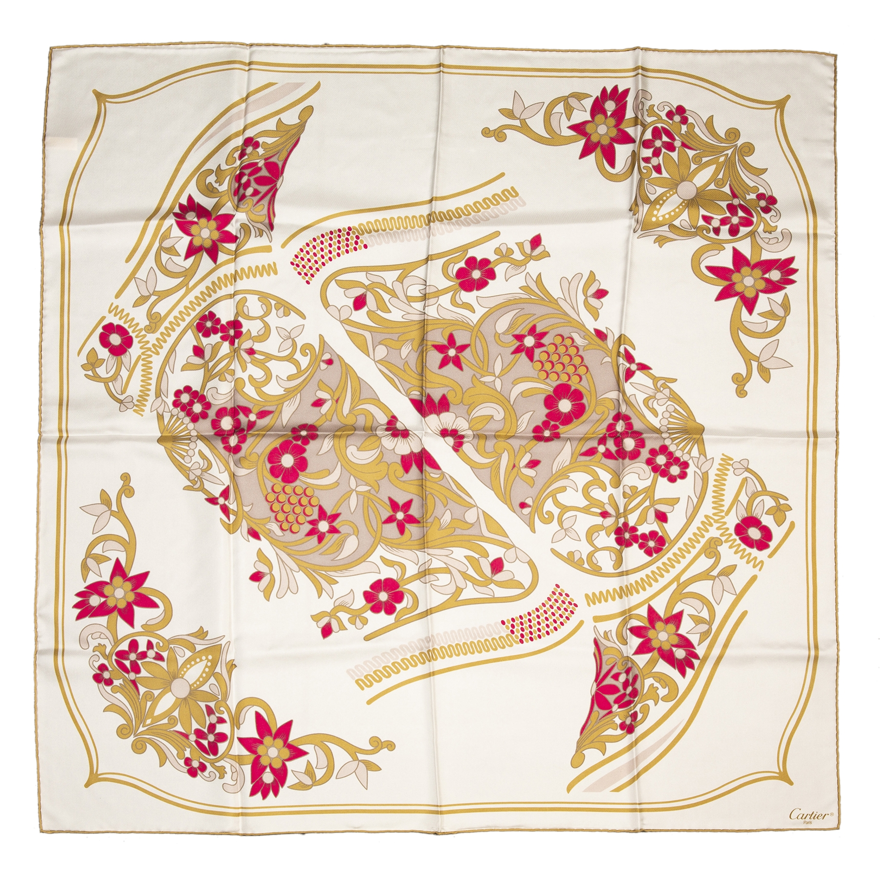 Koop authentieke tweedehands Cartier Beige Flowers Silk Scarf juiste prijs veilig online winkelen LabelLOV webshop luxe merken winkelen Antwerpen België mode fashion