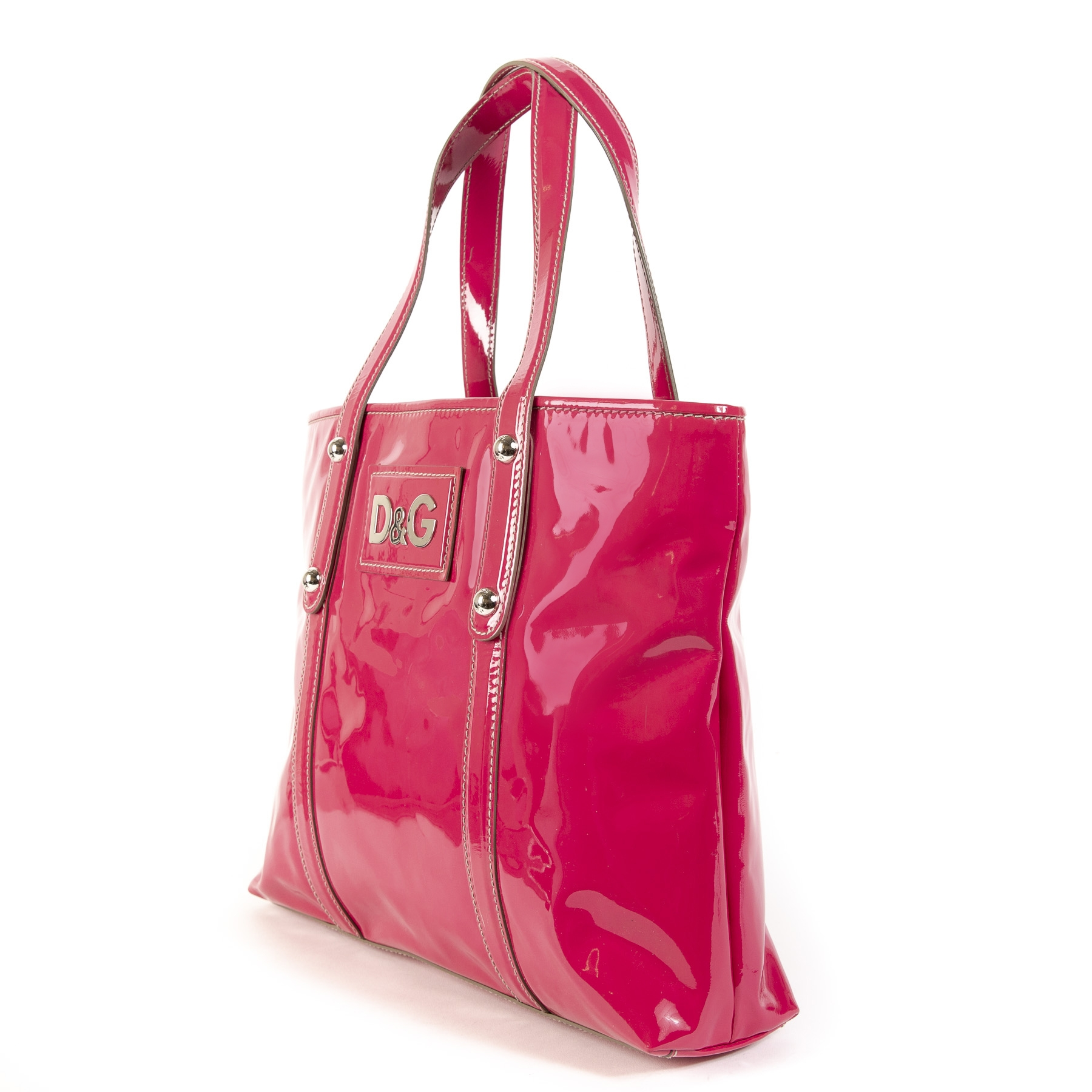 Dolce & Gabbana Pink Patent Leather Estelle Tote