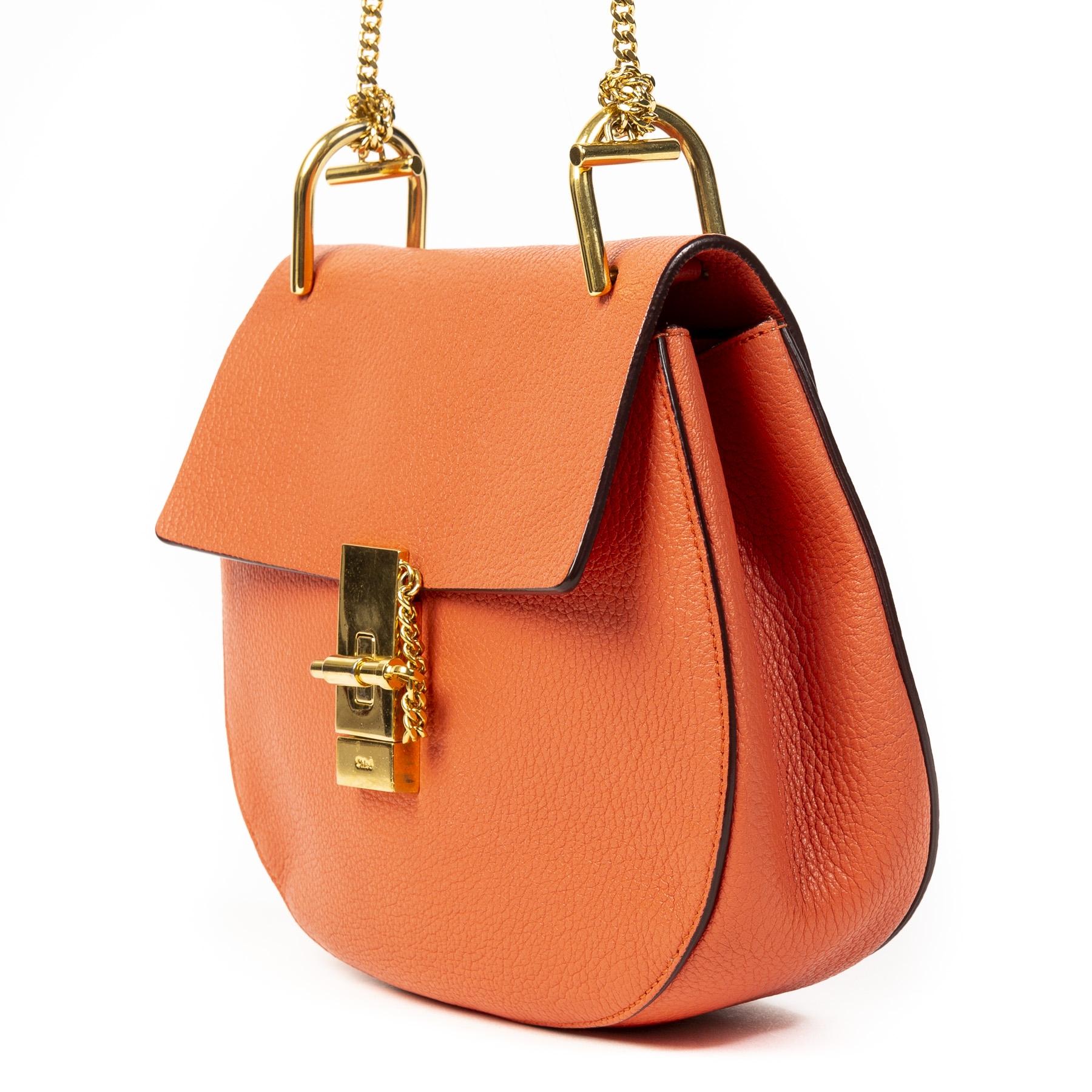 Authentieke tweedehands Chloé Drew Orange Shoulder Bag juiste prijs veilig online winkelen LabelLOV webshop luxe merken winkelen Antwerpen België mode fashion