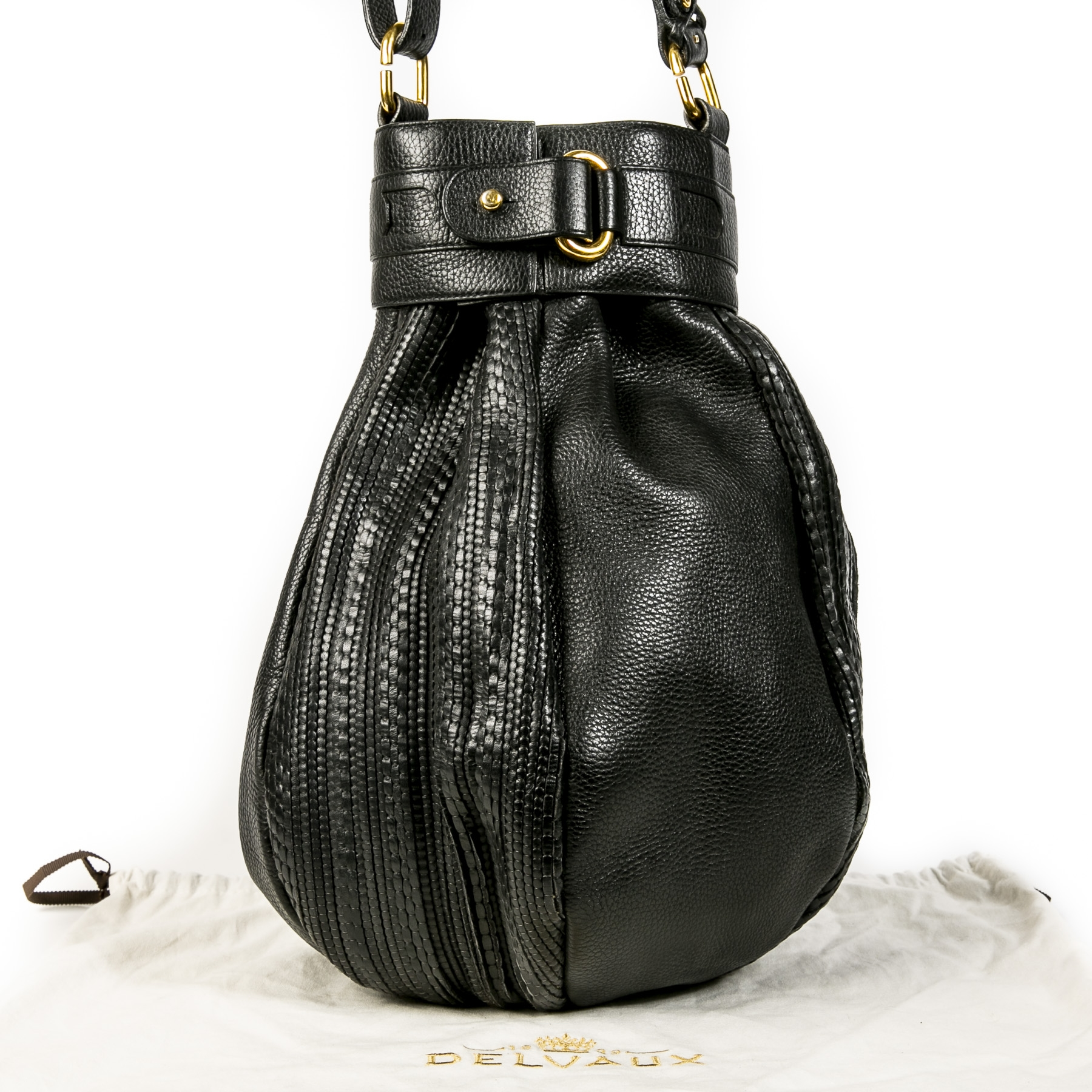Authentic second-hand vintage Delvaux Toile De Cuir Long Bucket Bag buy online webshop LabelLOV