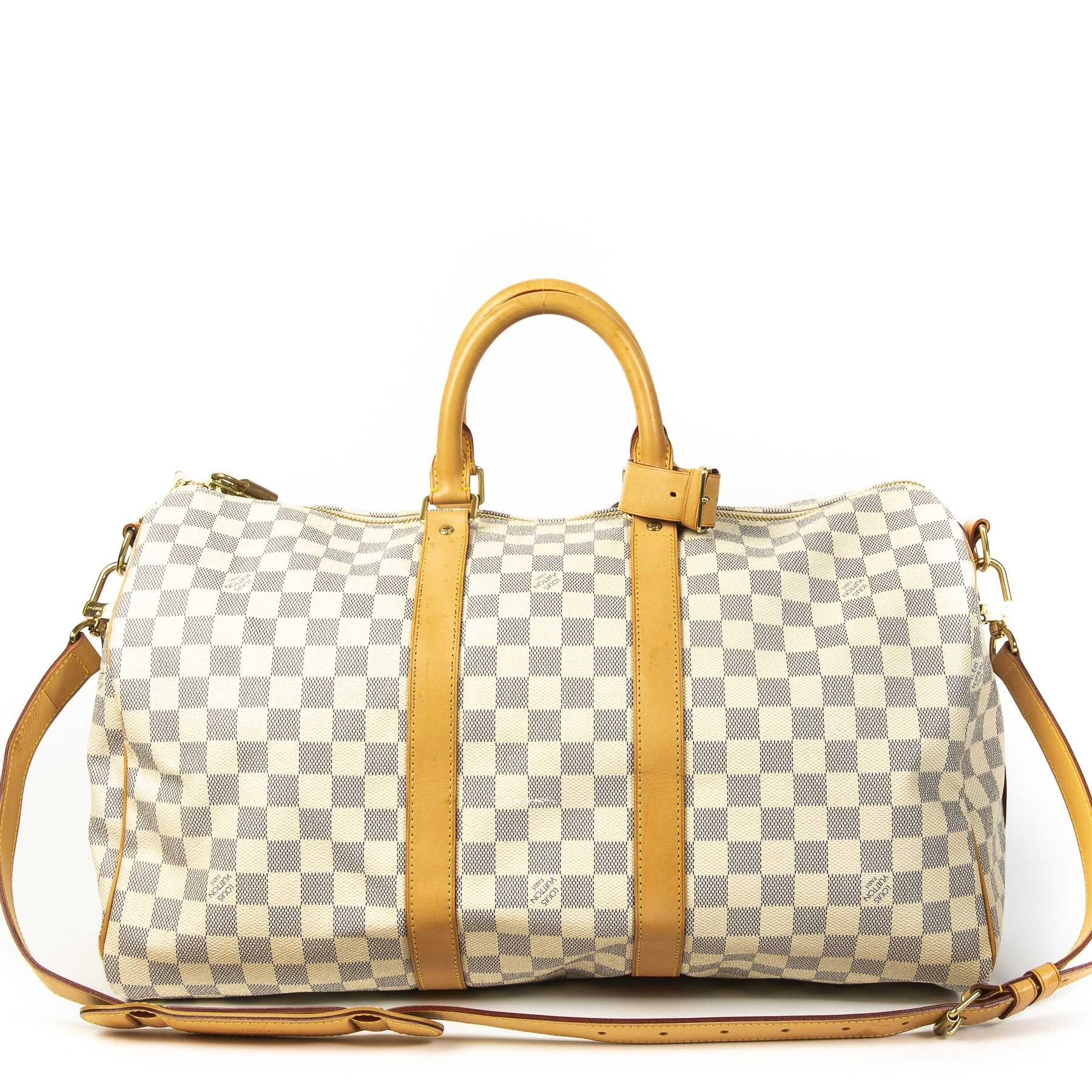 Authentique seconde main vintage Louis Vuitton Keepall Bandoulière Damier Azur 45