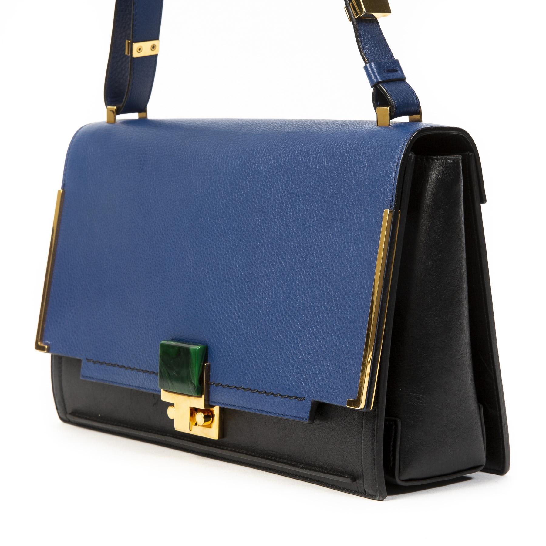 Koop authentieke tweedehands Lanvin Blue New Partition Leather Shoulder Bag juiste prijs veilig online winkelen LabelLOV webshop luxe merken winkelen Antwerpen België mode fashion