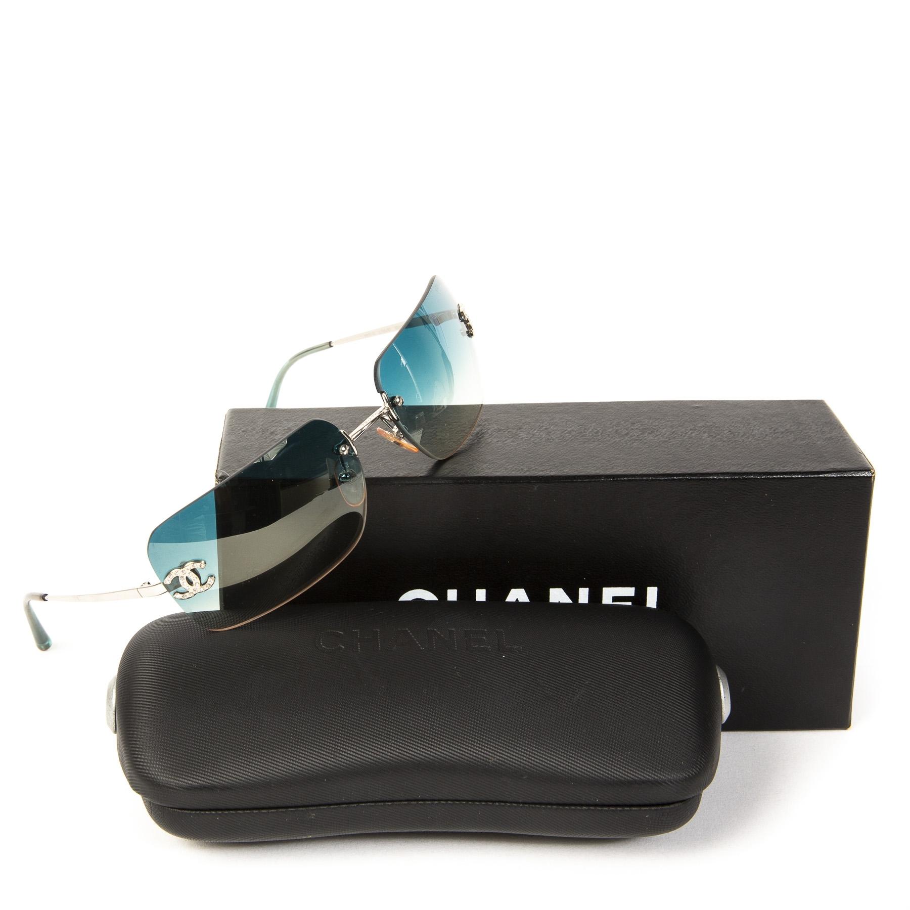 Chanel Blue Rimless Sunglasses Crystal Rhinestone CC