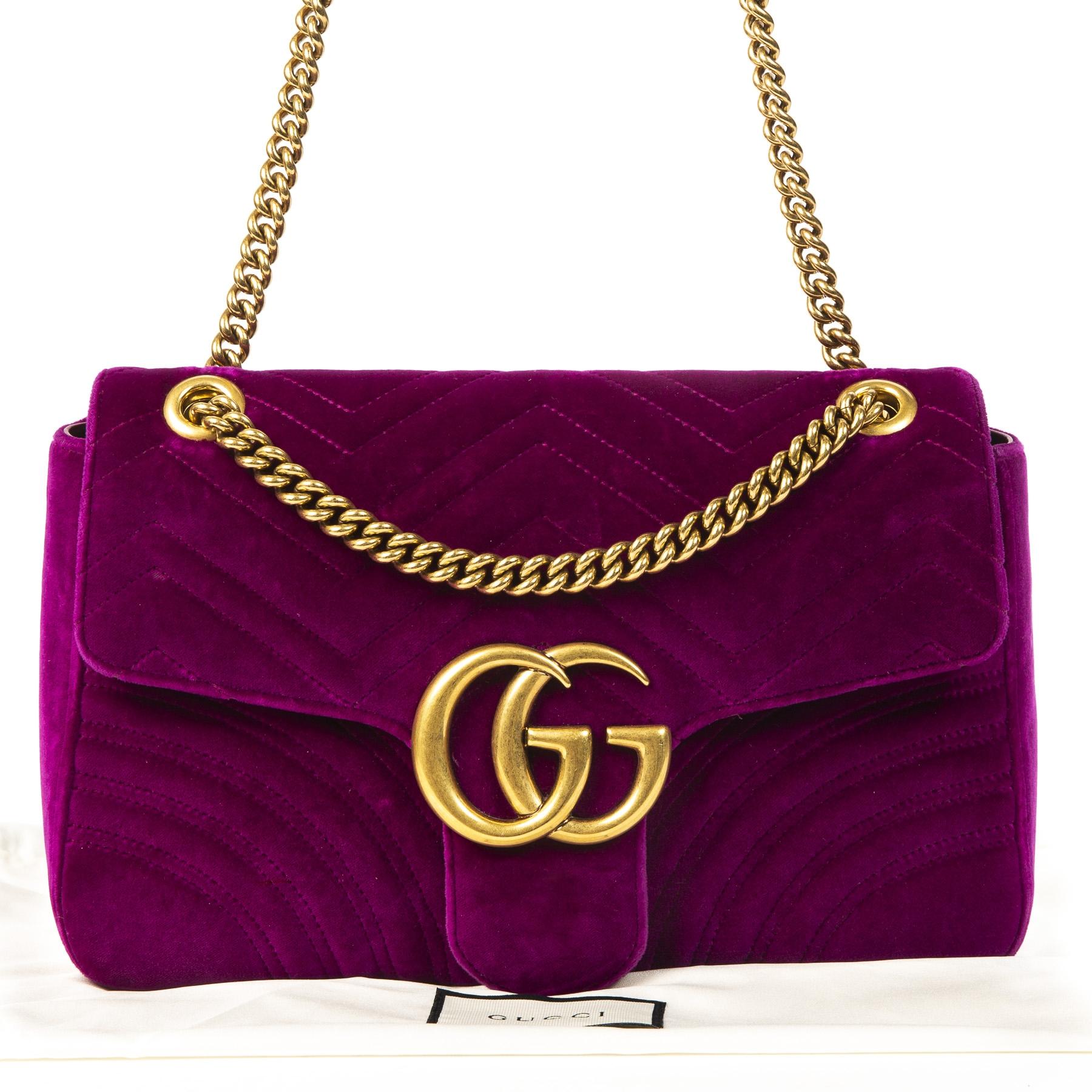 Gucci GG Marmont Medium Fuchsia Velvet Shoulder Bag best price online