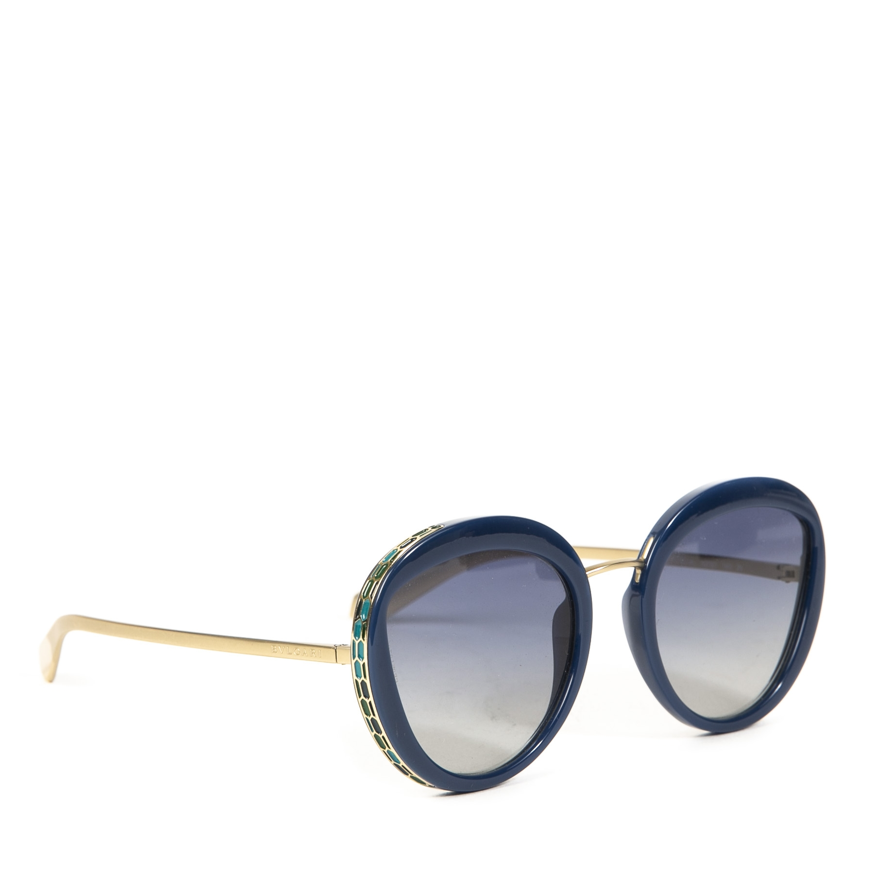 Bulgari Blue Round Sunglasses