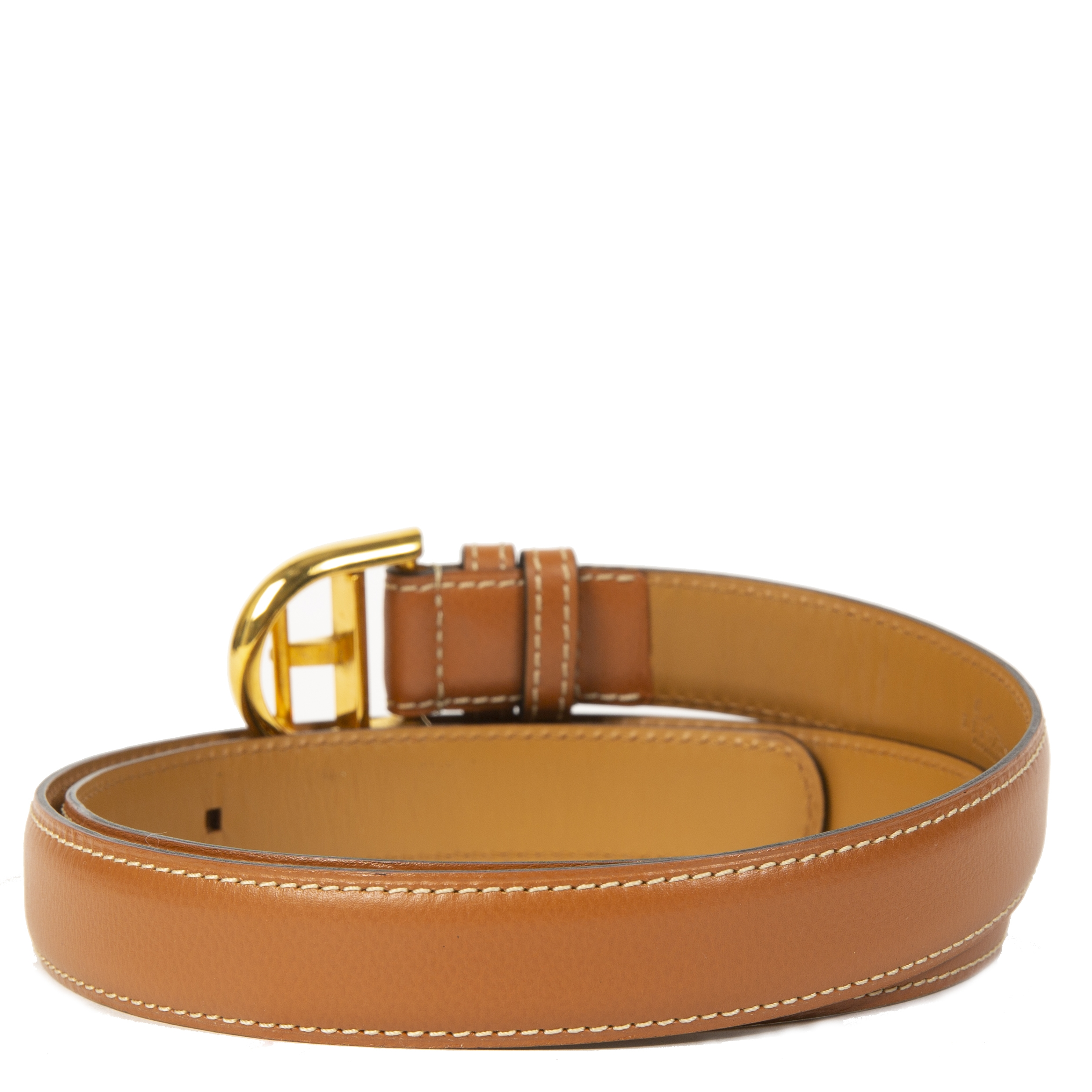 Delvaux Cognac Leather Brillant Buckle Belt