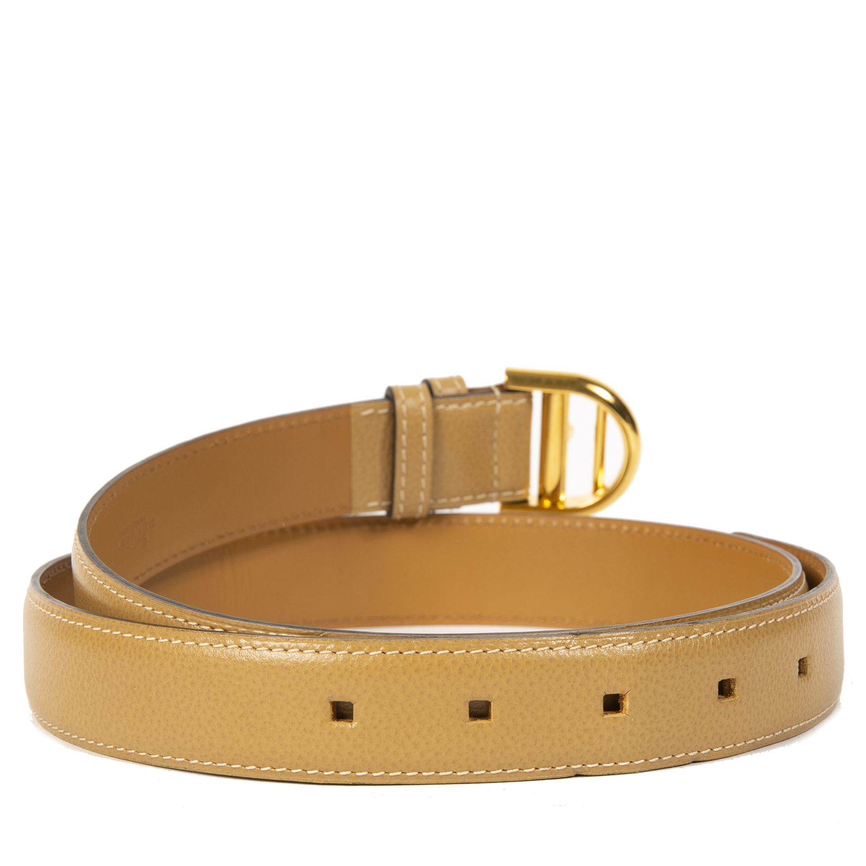 Delvaux Beige Brillant Buckle Belt - size 80