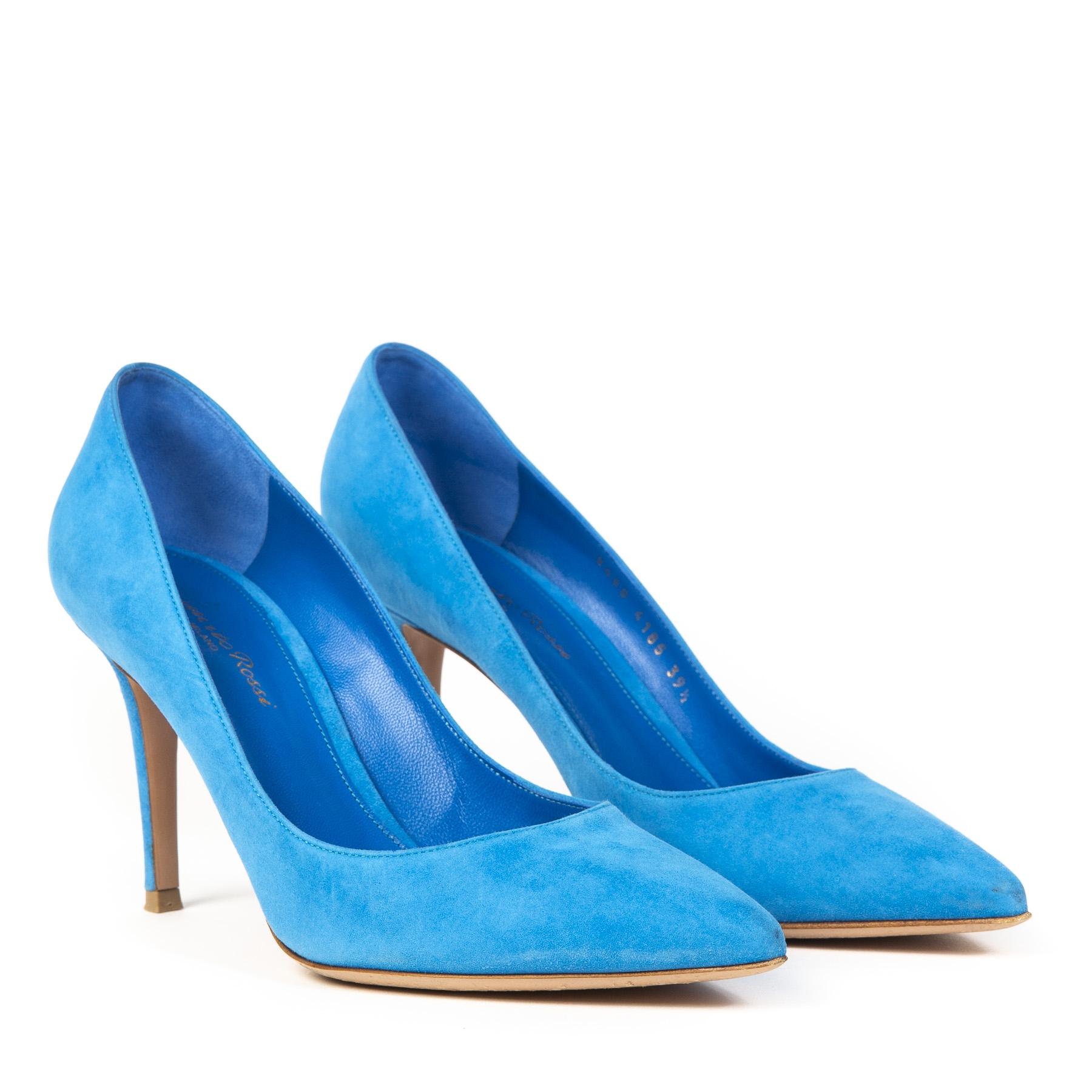 Authentieke Tweedehands Gianvito Rossi Blue Panarea Suede Pumps Size 39,5 juiste prijs veilig online shoppen webshop luxe merken winkelen Antwerpen België