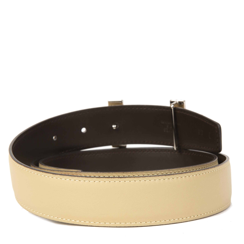 Hermès Constance H Brown & Beige Enamel Buckle Belt