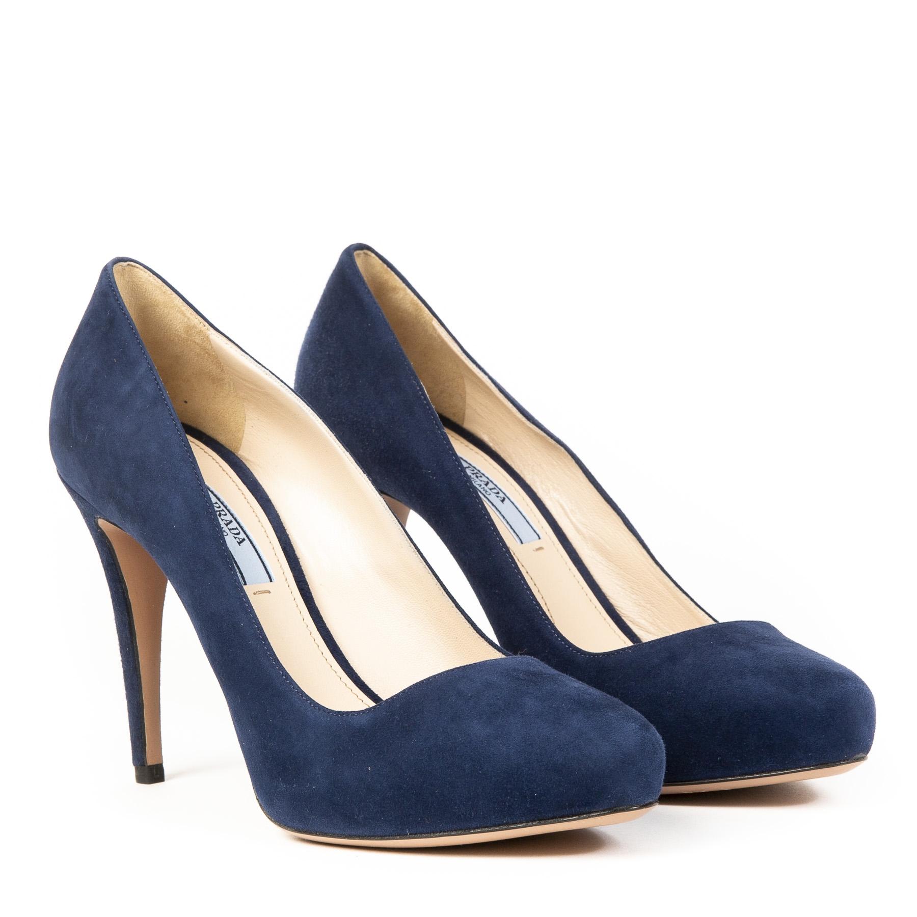 Authentieke Tweedehands Prada Navy Blue Suede Platform Pumps juiste prijs veilig online shoppen webshop luxe merken Antwerpen België