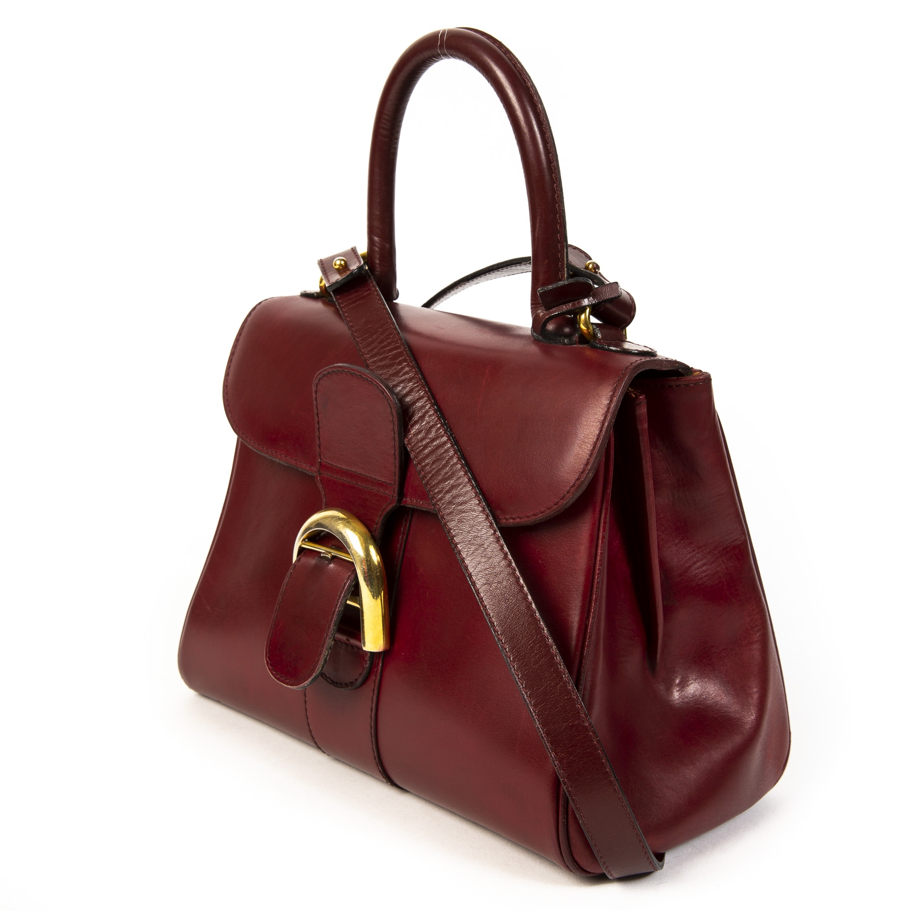 koop online tegen de beste prijs Delvaux Vintage Burgundy Boxcalf Brillant PM + Strap