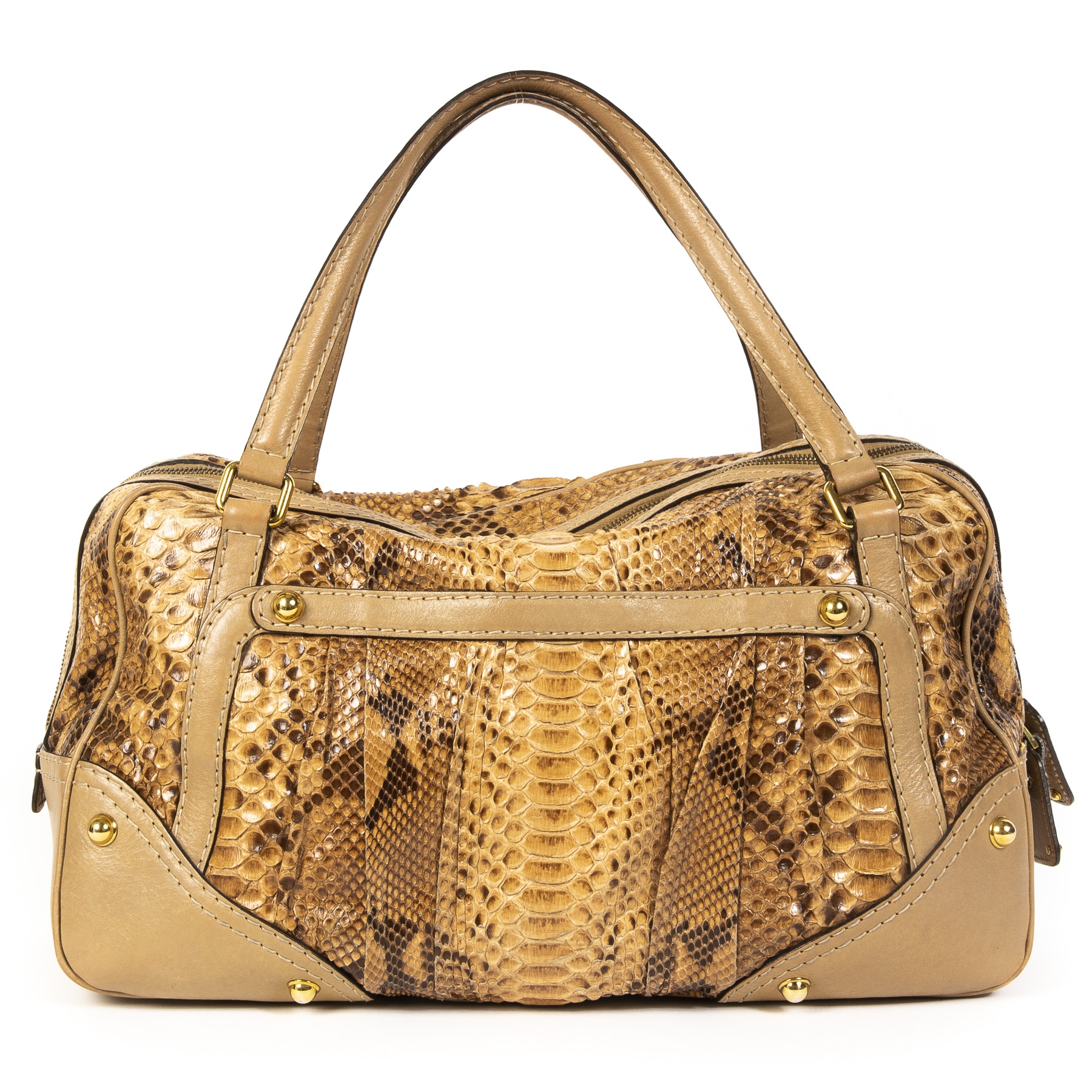 koop veilig online tegen de beste prijs Gucci Jockey Boston Bag Python