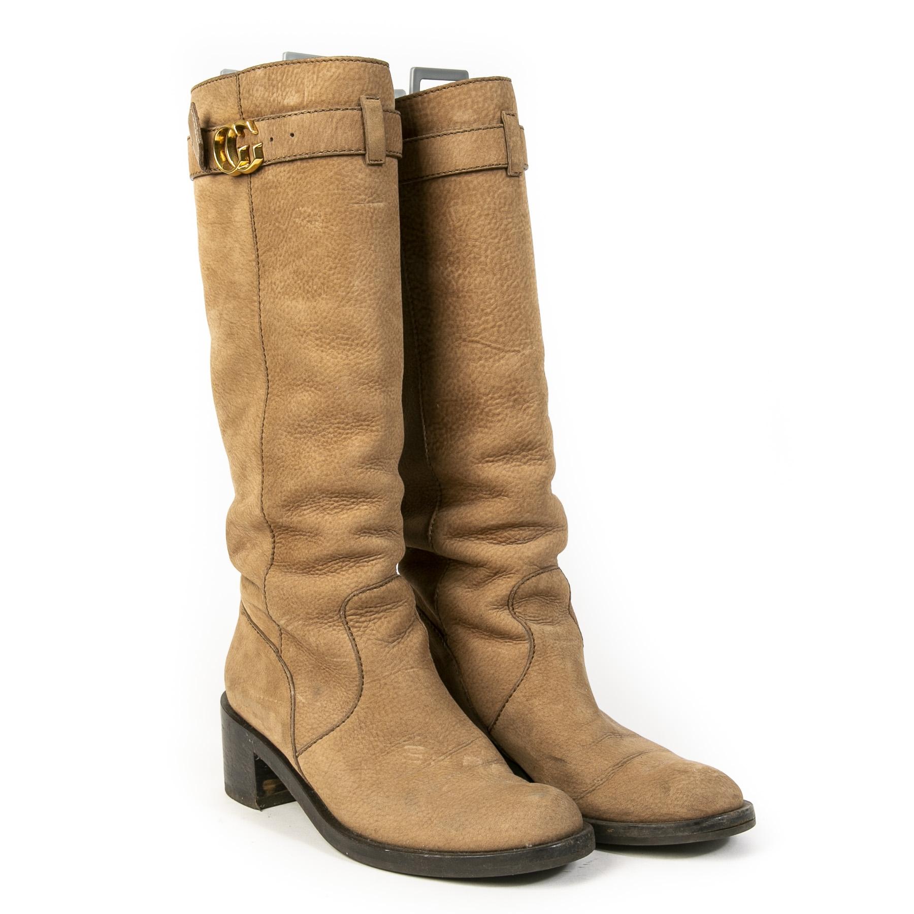 Authentieke Tweedehands Gucci Leather GG Boots juiste prijs veilig online shoppen luxe merken webshop winkelen Antwerpen België mode fashion