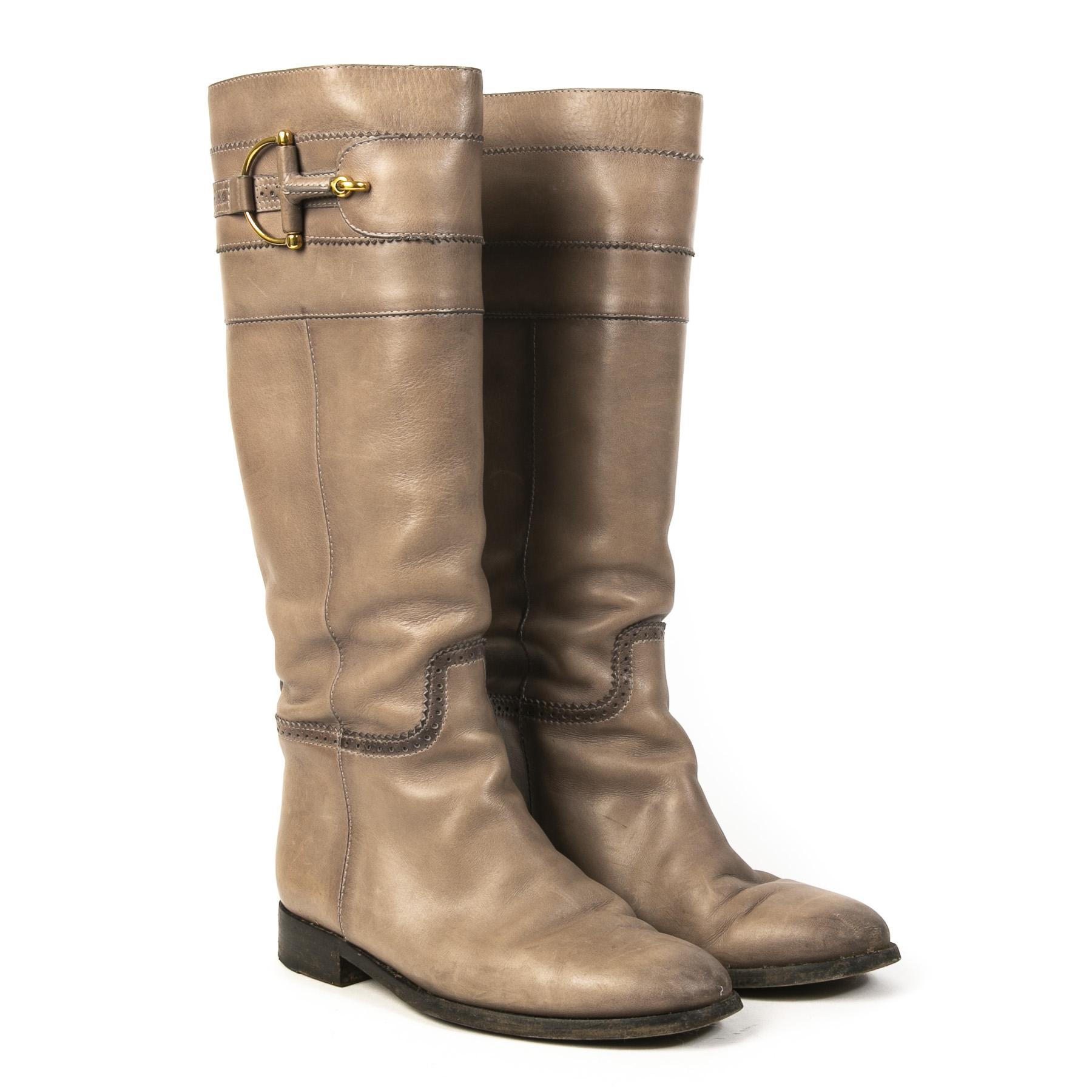 Authentieke Tweedehands Gucci Taupe Horsebit Leather Boots juiste prijs veilig online shoppen luxe merken webshop winkelen Antwerpen België mode fashion