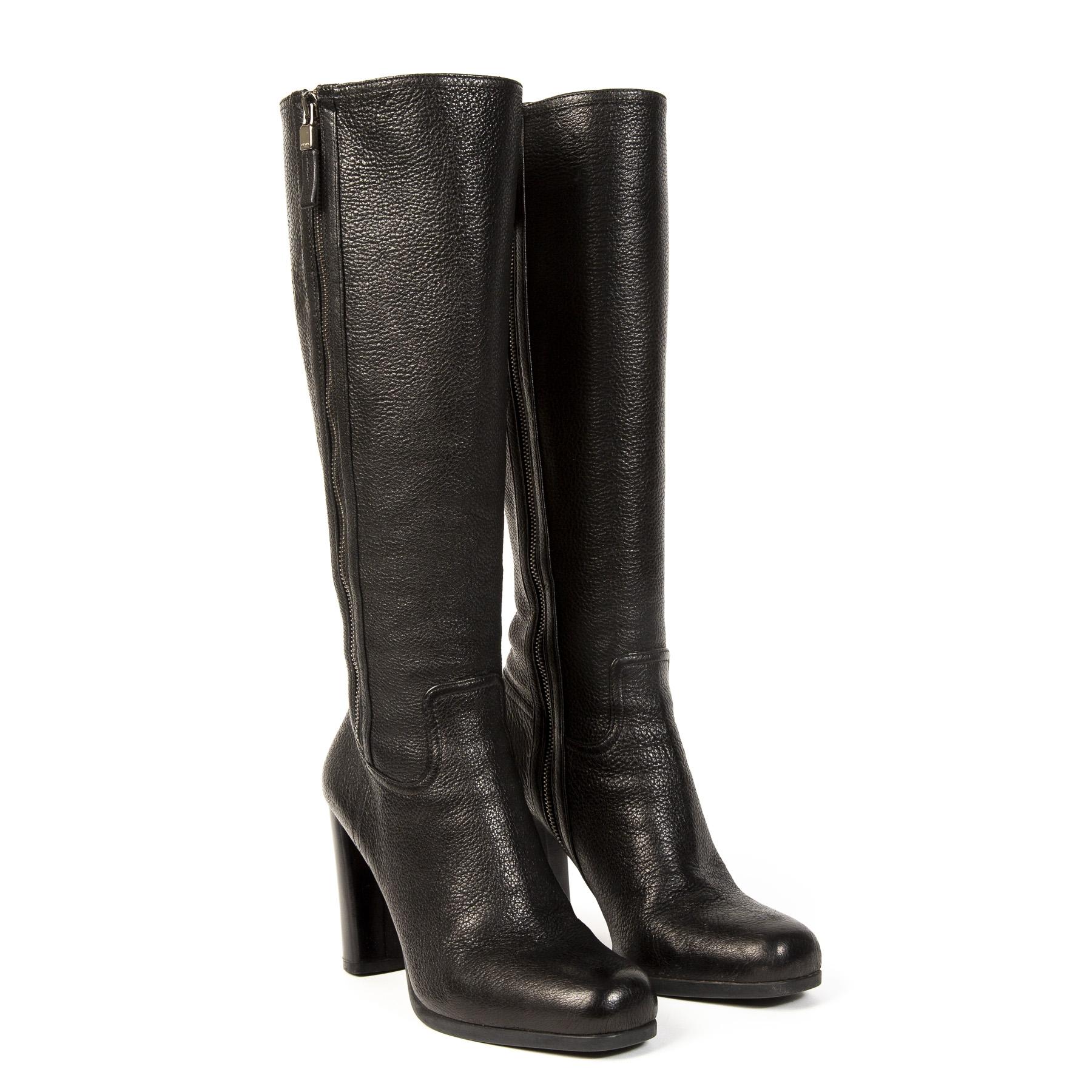 Authentieke Tweedehands Prada Black Leather Calzature Donna Boots juiste prijs veilig online shoppen webshop luxe merken winkelen Antwerpen België mode fashion