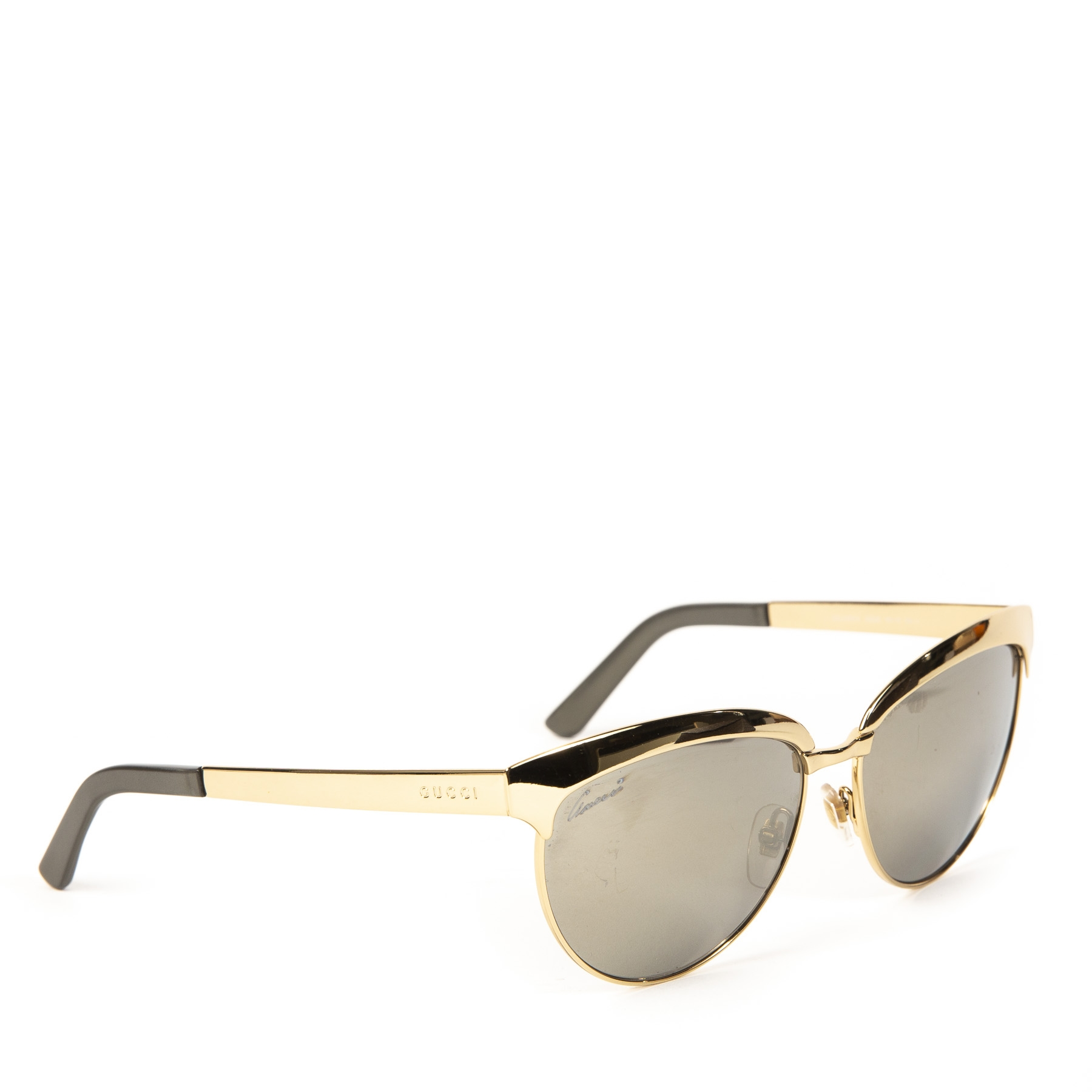 Gucci Gold Mirrored Cat Eye Sunglasses